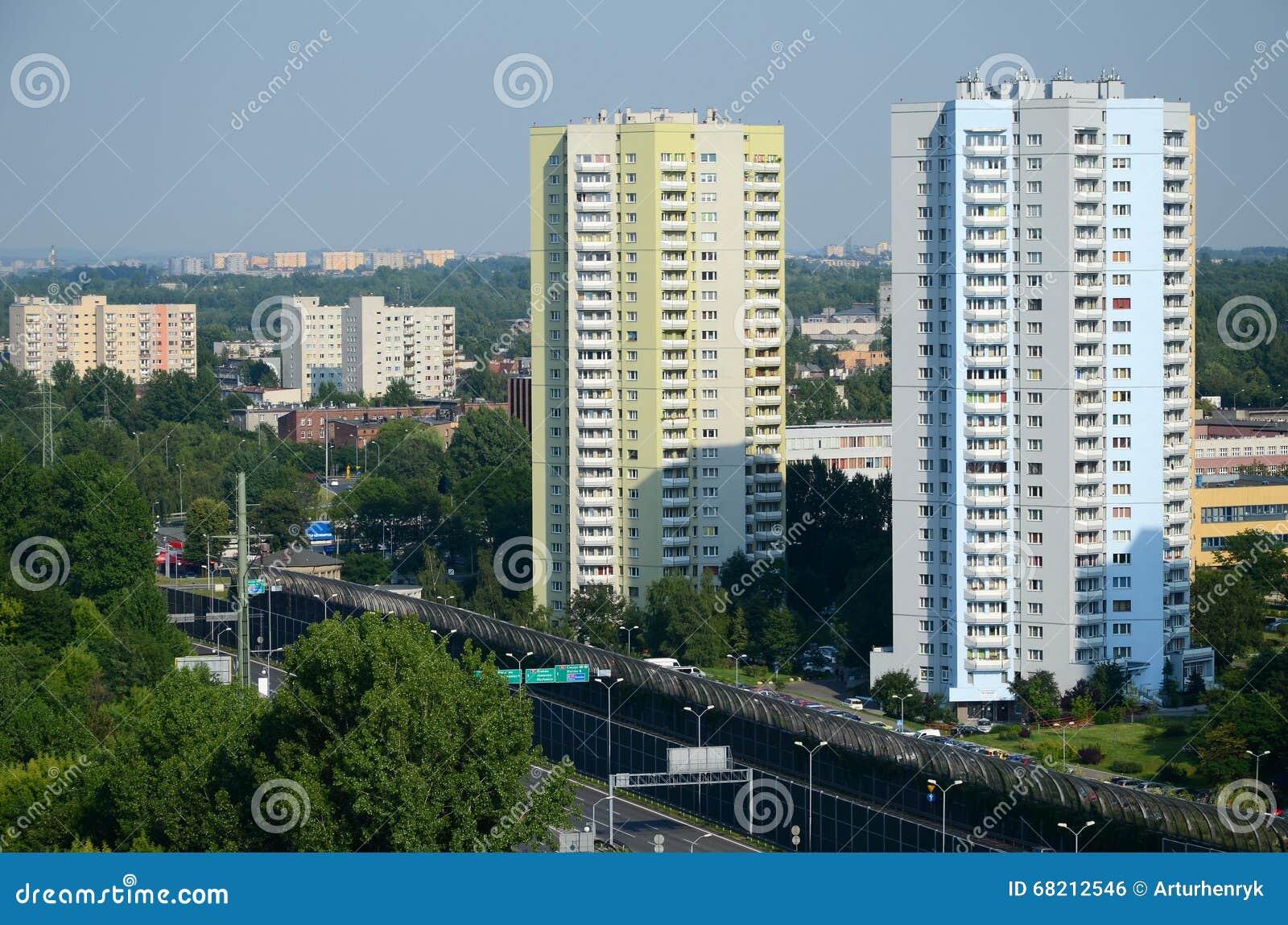 Bostads- skyskrapor i Katowice, Polen