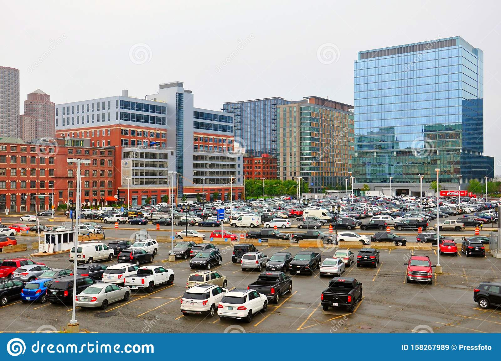 Boston City Buildings Downtown And Parking Editorial Stock ...