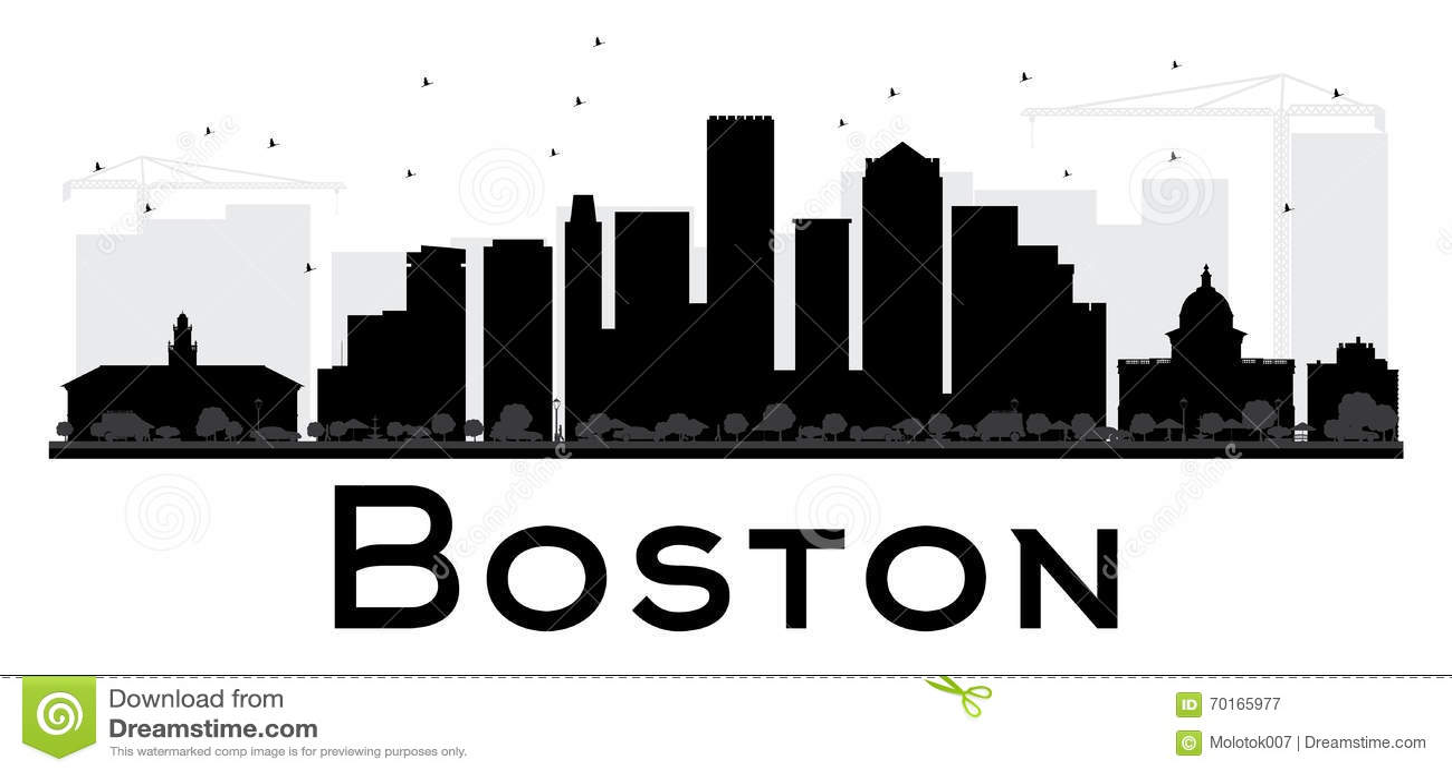 Boston City Skyline Black And White Silhouette Stock