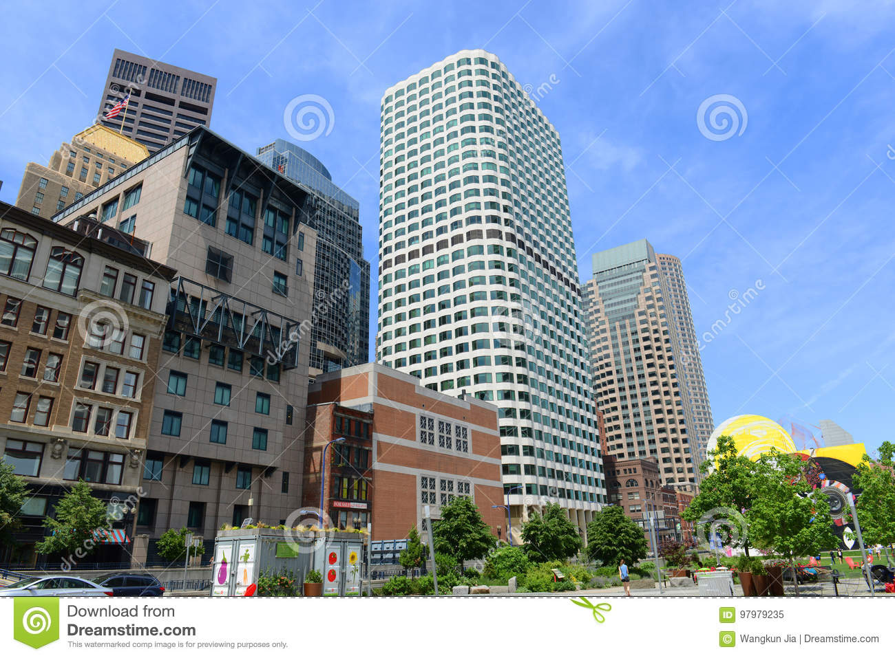 Boston Financial Center Including Keystone Building On 99 High Street In Downtown Massachusetts USA