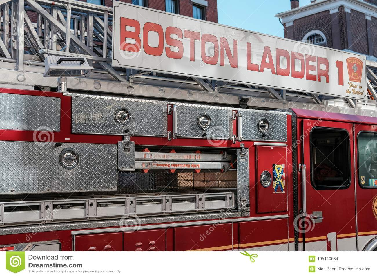 Boston Fire Department engine attend a call in the downtown area.