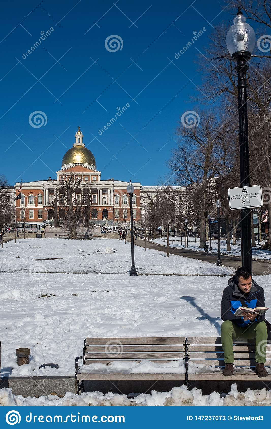 Boston, MA, USA, February, 8, 2016: A Young Man Perches On