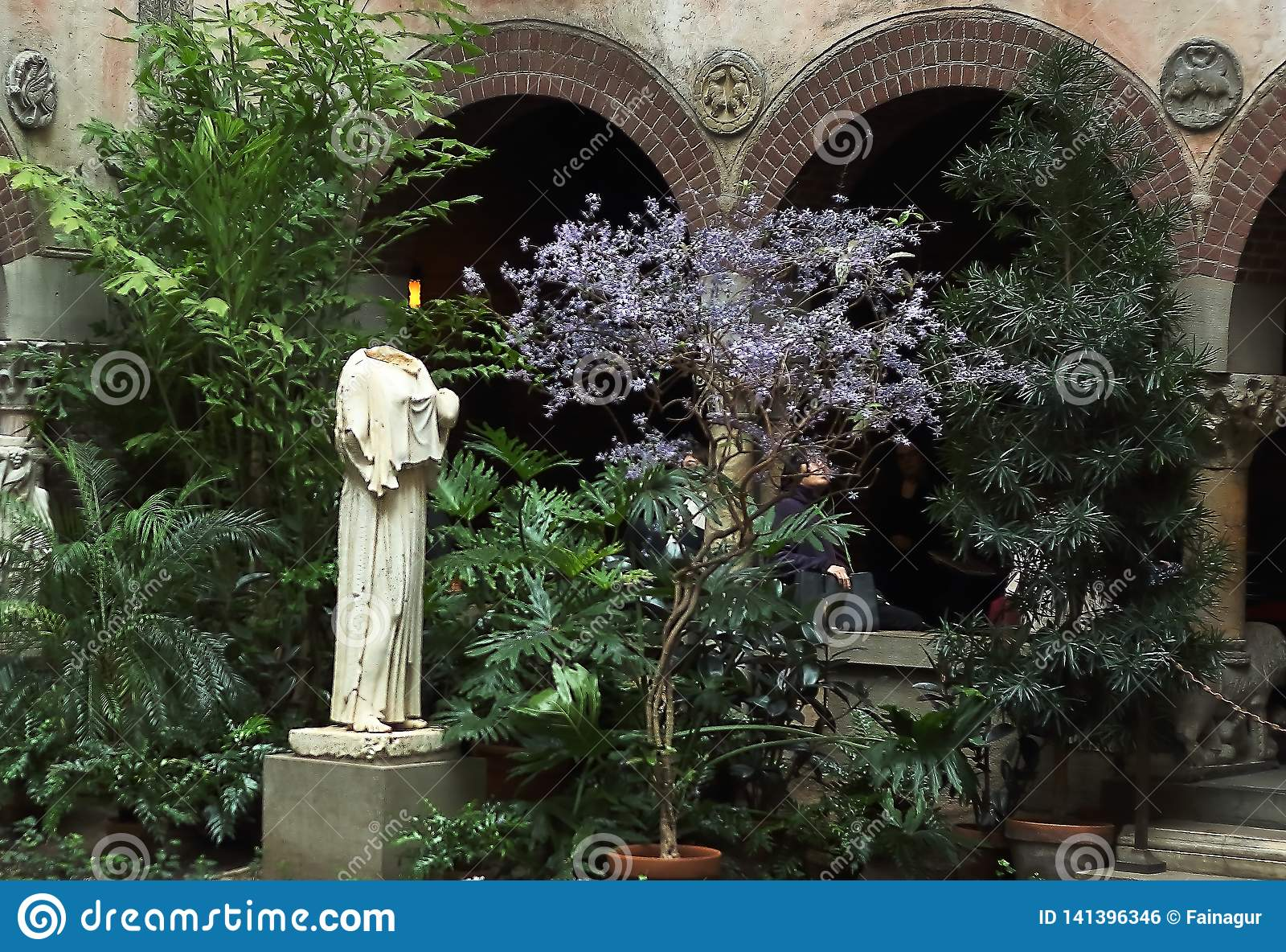 Antique statue of Roman goddess Peplophoros in the Isabella Stewart Gardner Museum, Fenway park, Boston, Massachusetts