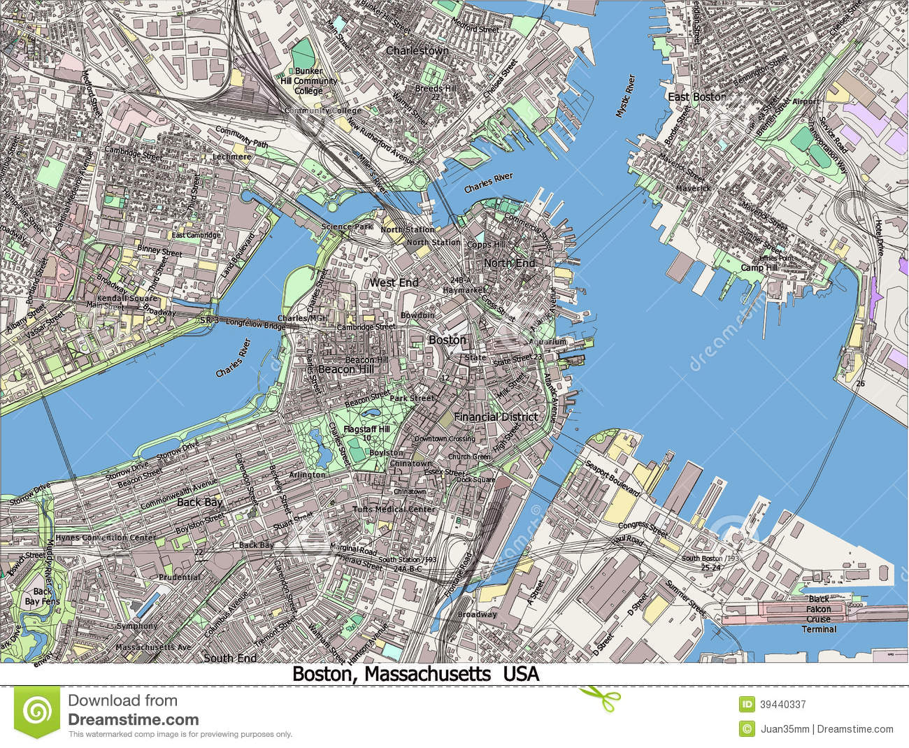 Boston Massachusetts United States Hi Res Aerial View Stock - Map of boston in usa