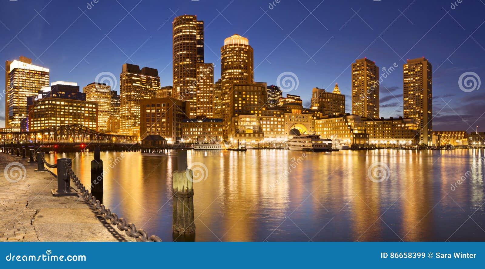 Boston, Massachusetts, USA skyline from Fan Pier at night
