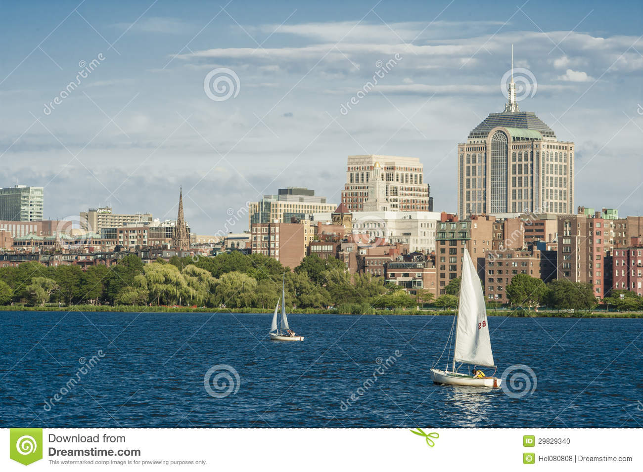 Skyline de Boston no Charles River