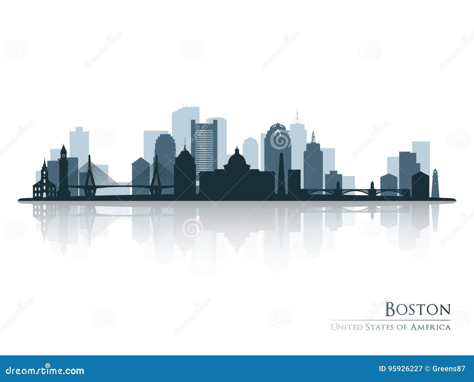 Boston, silhueta da skyline com reflexão