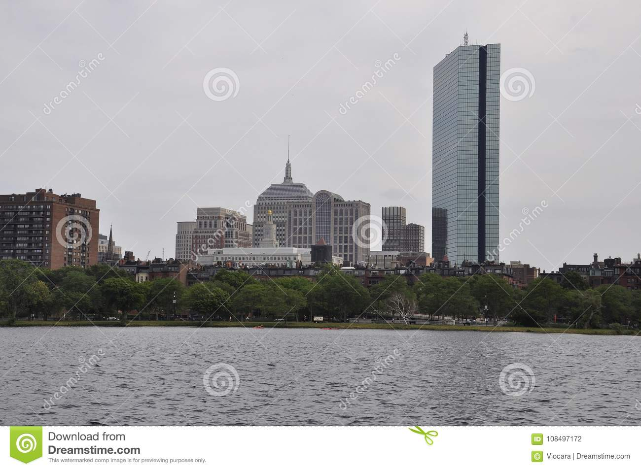 Boston Skyline from Charles River in Massachusettes State of USA
