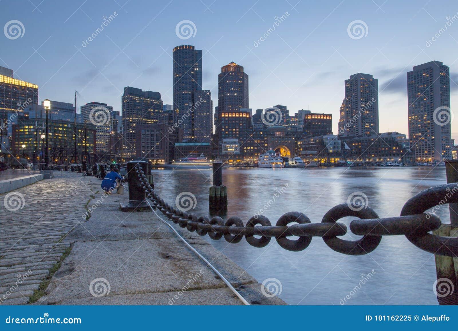 Boston, Skyline of Boston at sunset
