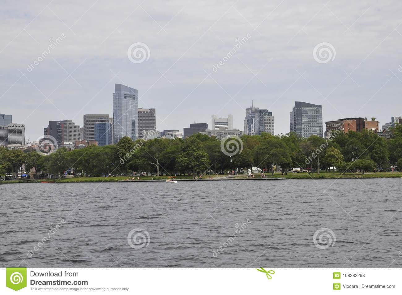 Boston Skyline view from Charles river in Boston Massachusettes State of USA