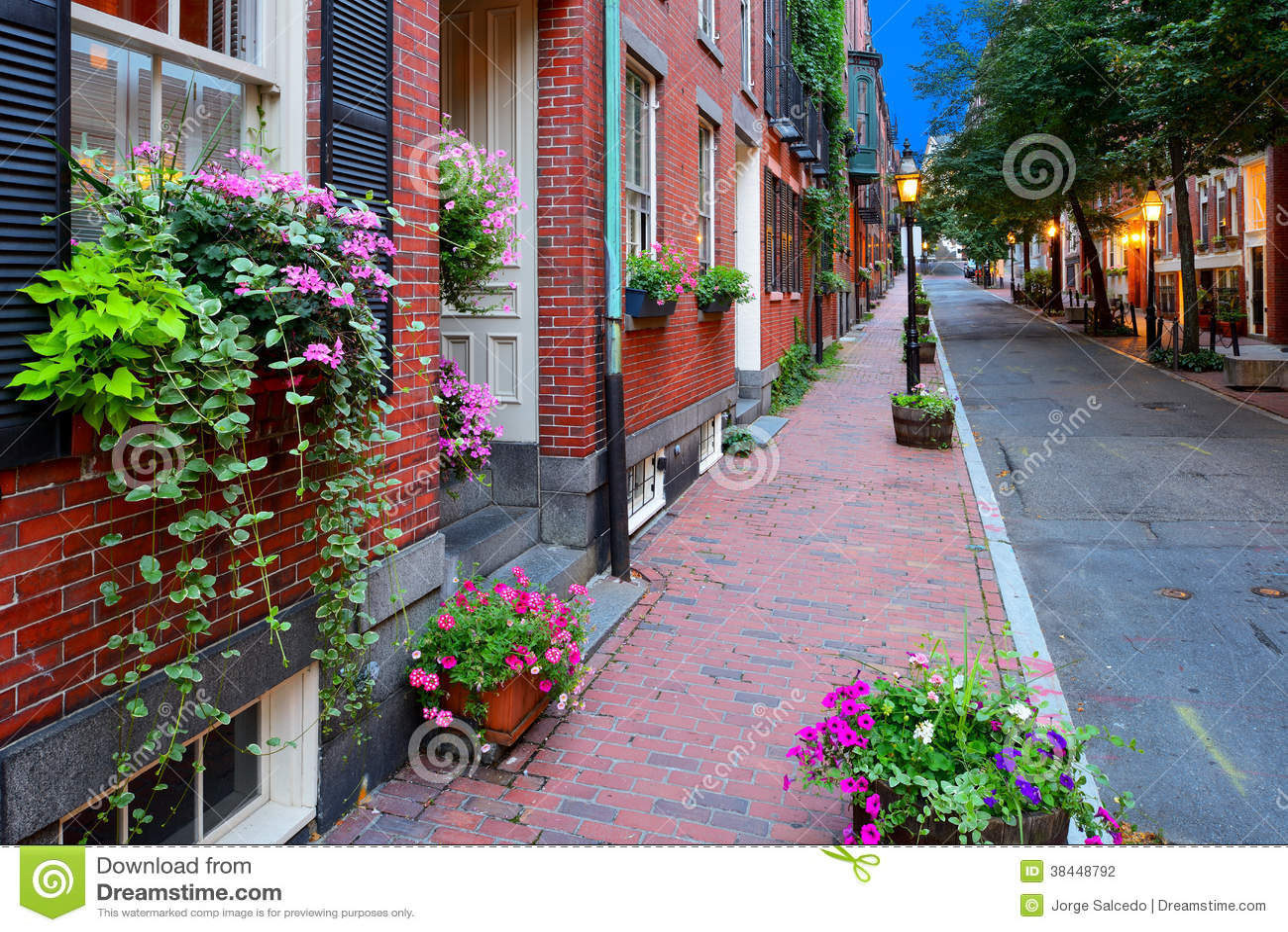 Boston Streetscape At Night Stock Photo Image Of Hanging