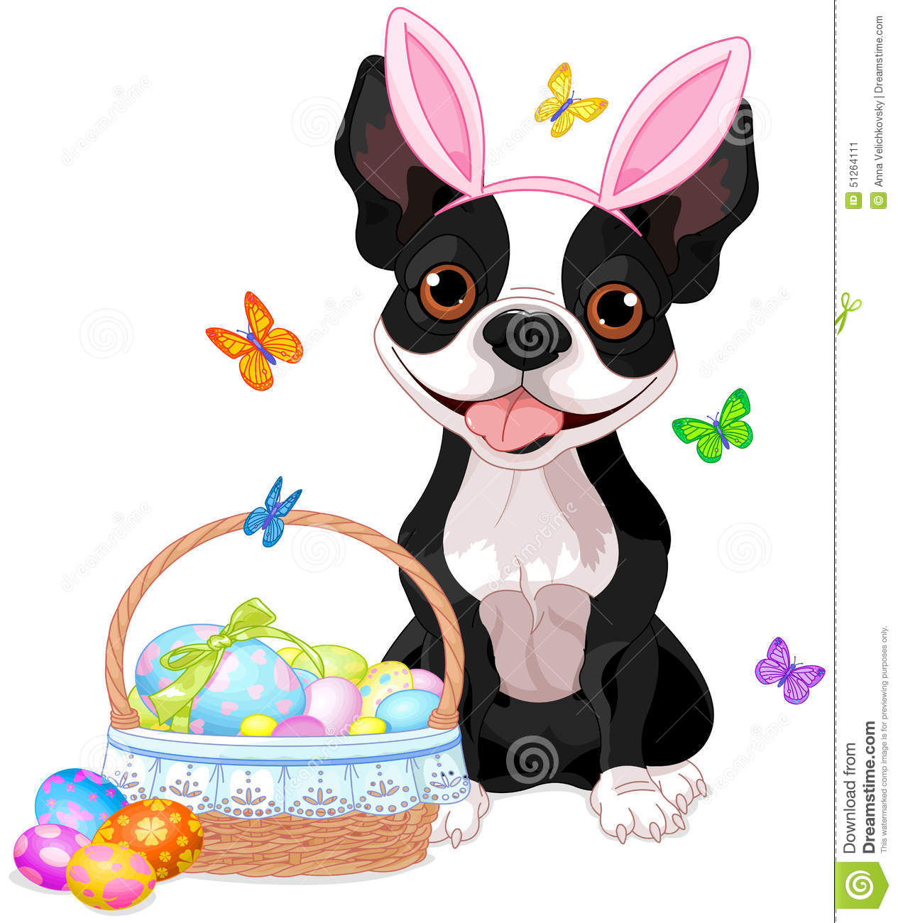 boston terrier with easter basket stock vector