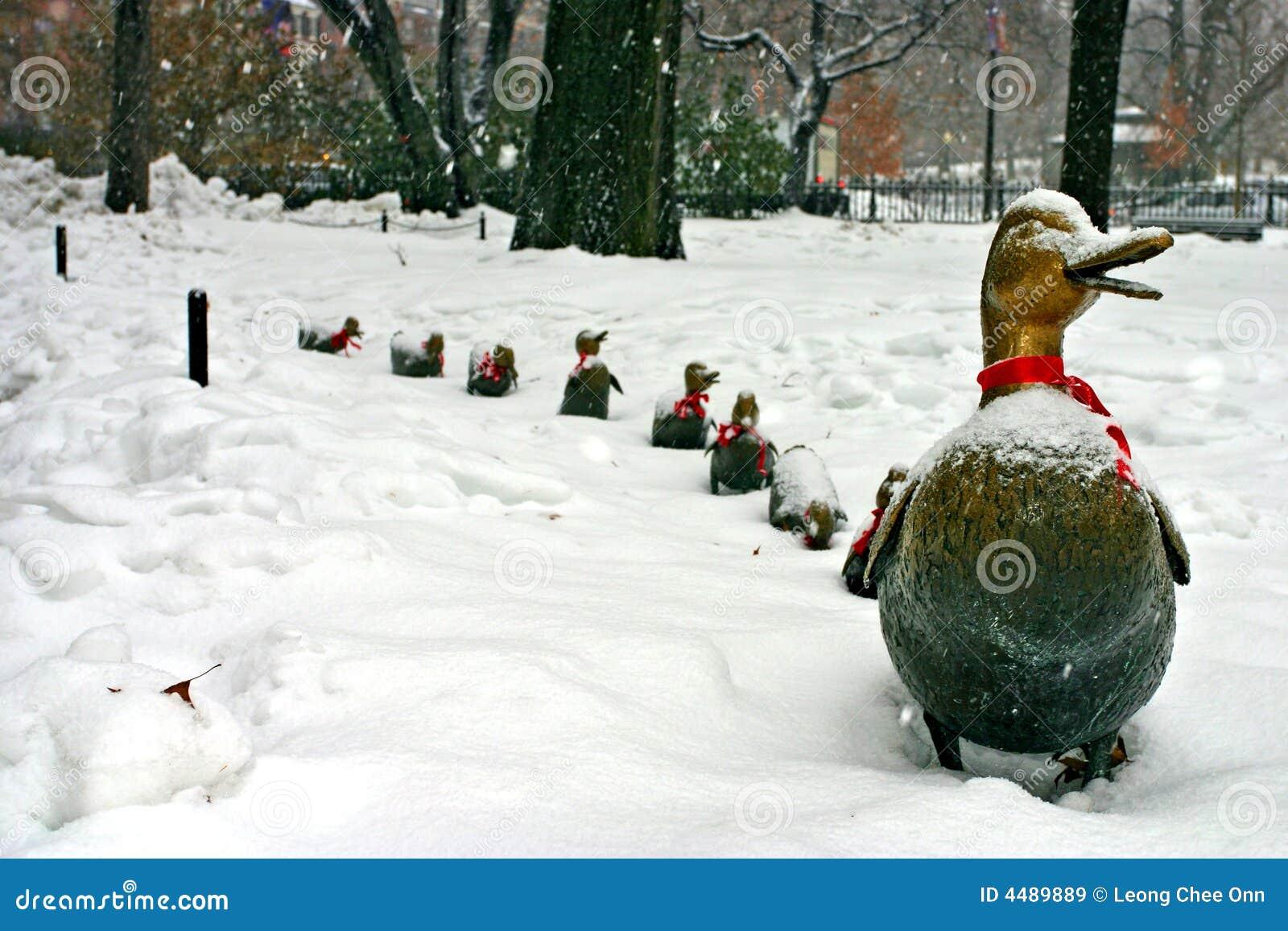 Stock image of a snowing winter at Boston, Massachusetts, USA.