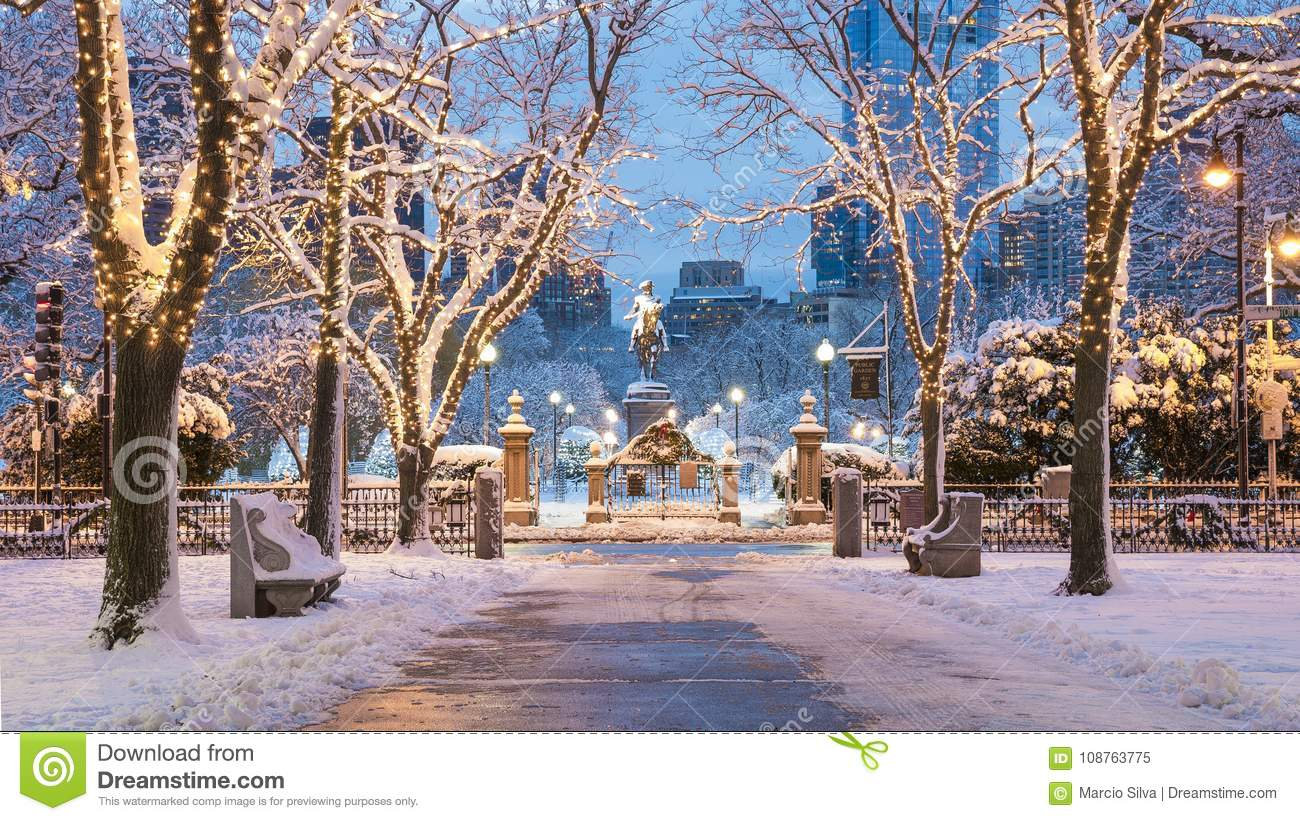 Boston Christmas Lights.Boston In The Winter Stock Image Image Of Boston