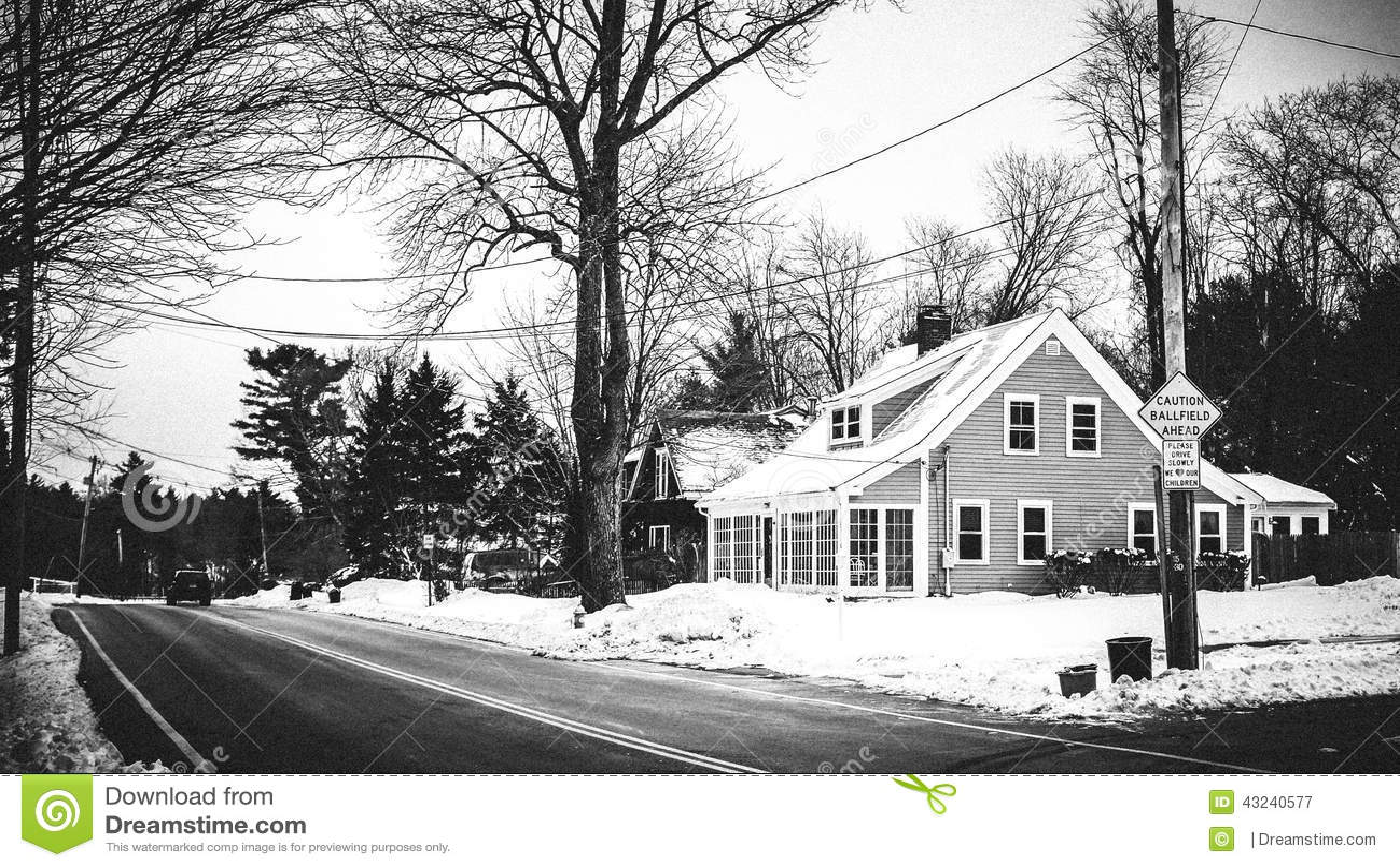 Boston wintery scene in Massachusetts. Abandoned house.
