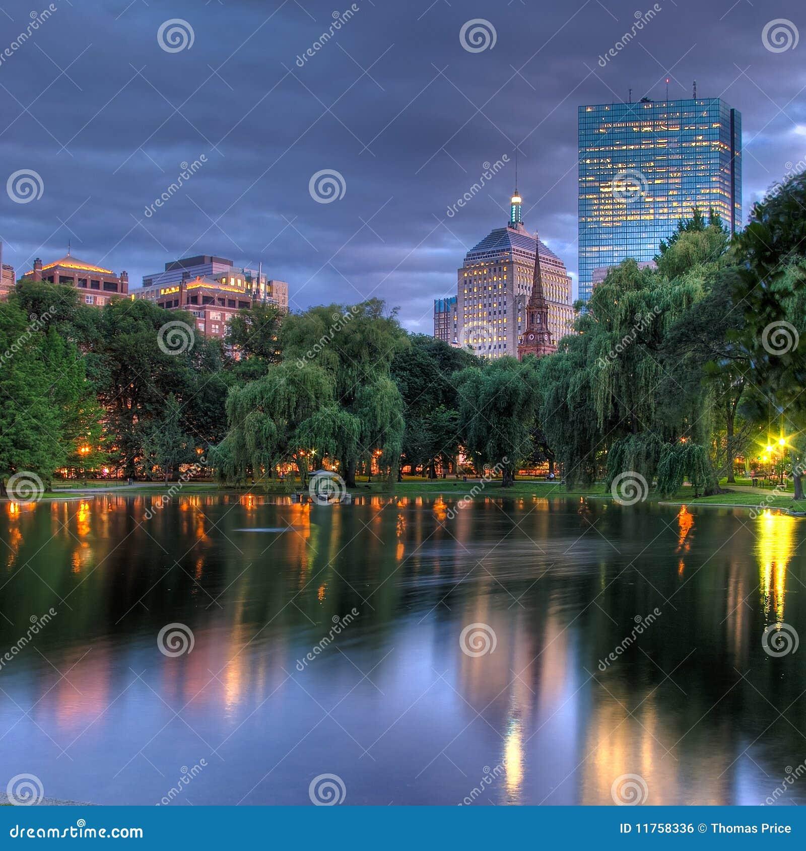 Bostonu copley hdr nad s kwadratowym zmierzchem