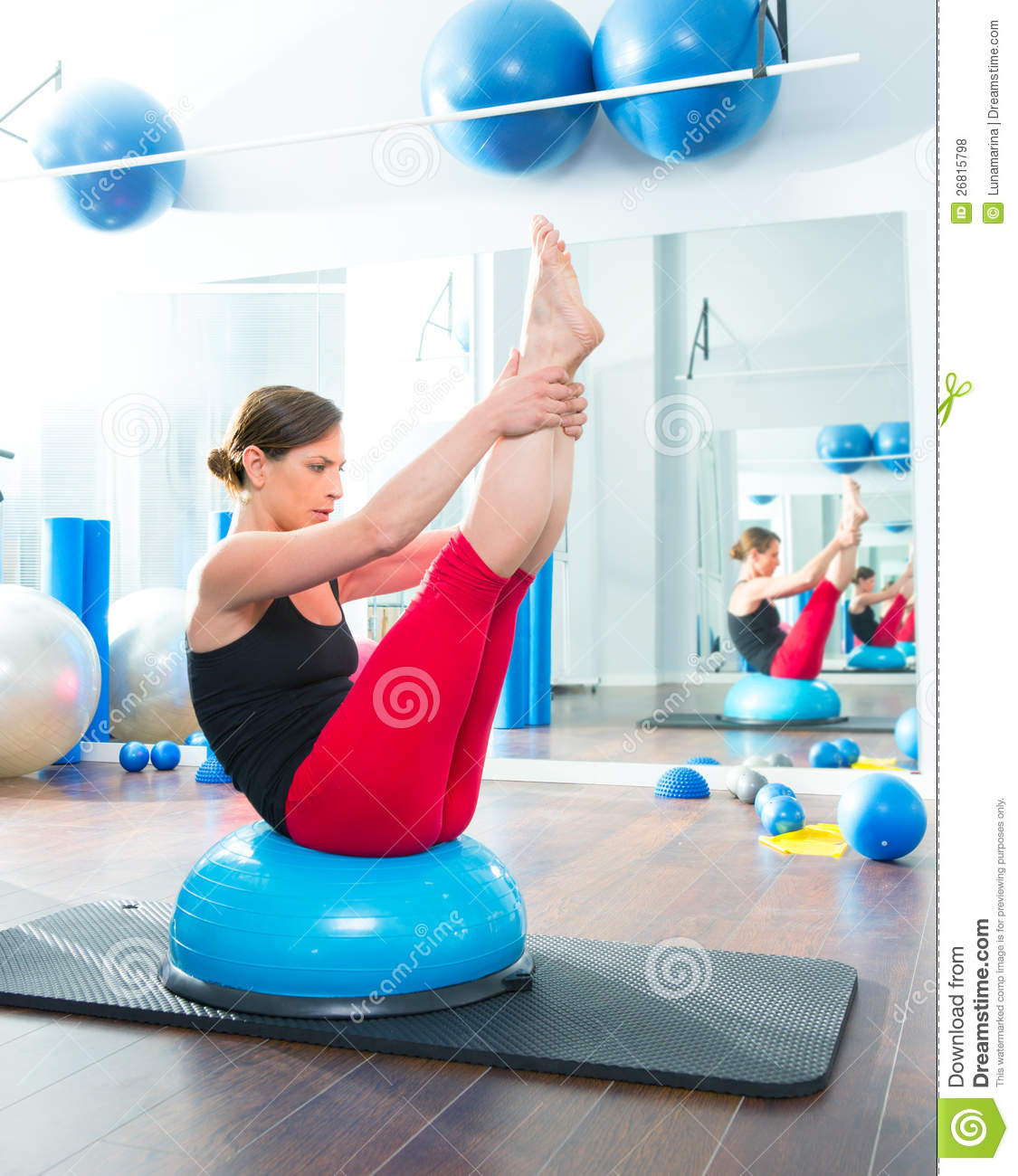 Bosu Ball Exercises For Athletes: Bosu Ball For Fitness Instructor Woman In Aerobics Royalty