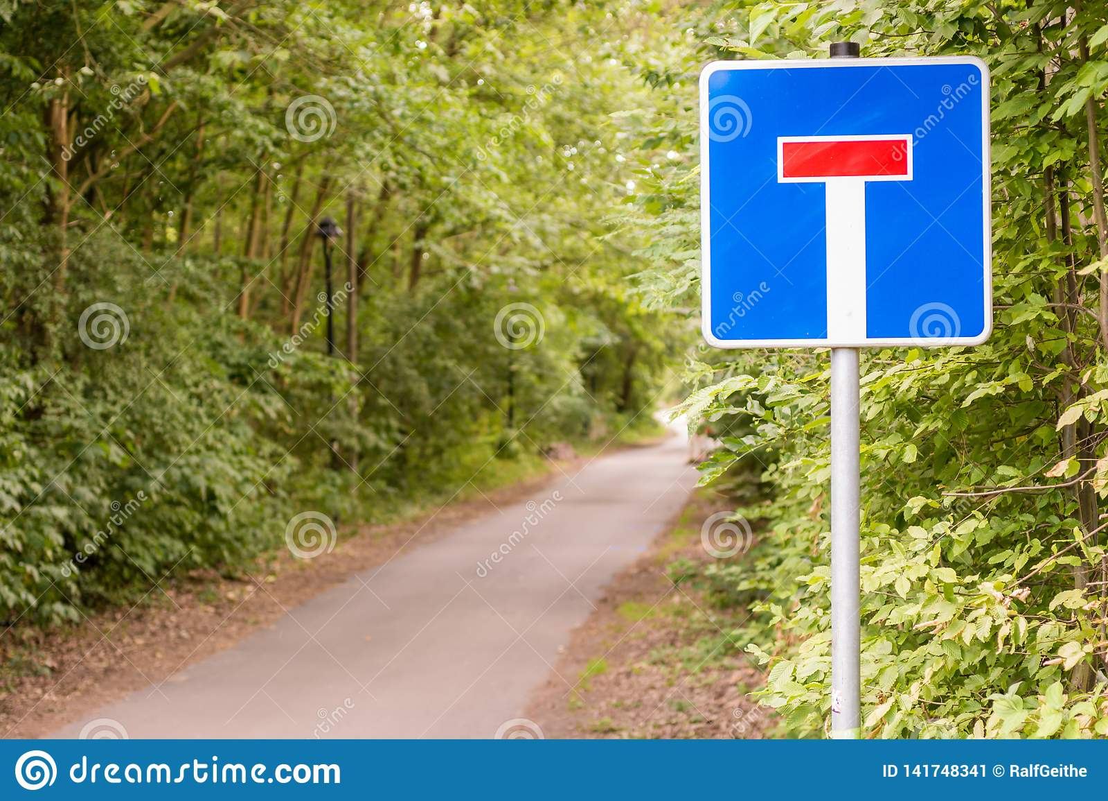 Bosweg met teken als teken voor een impasse