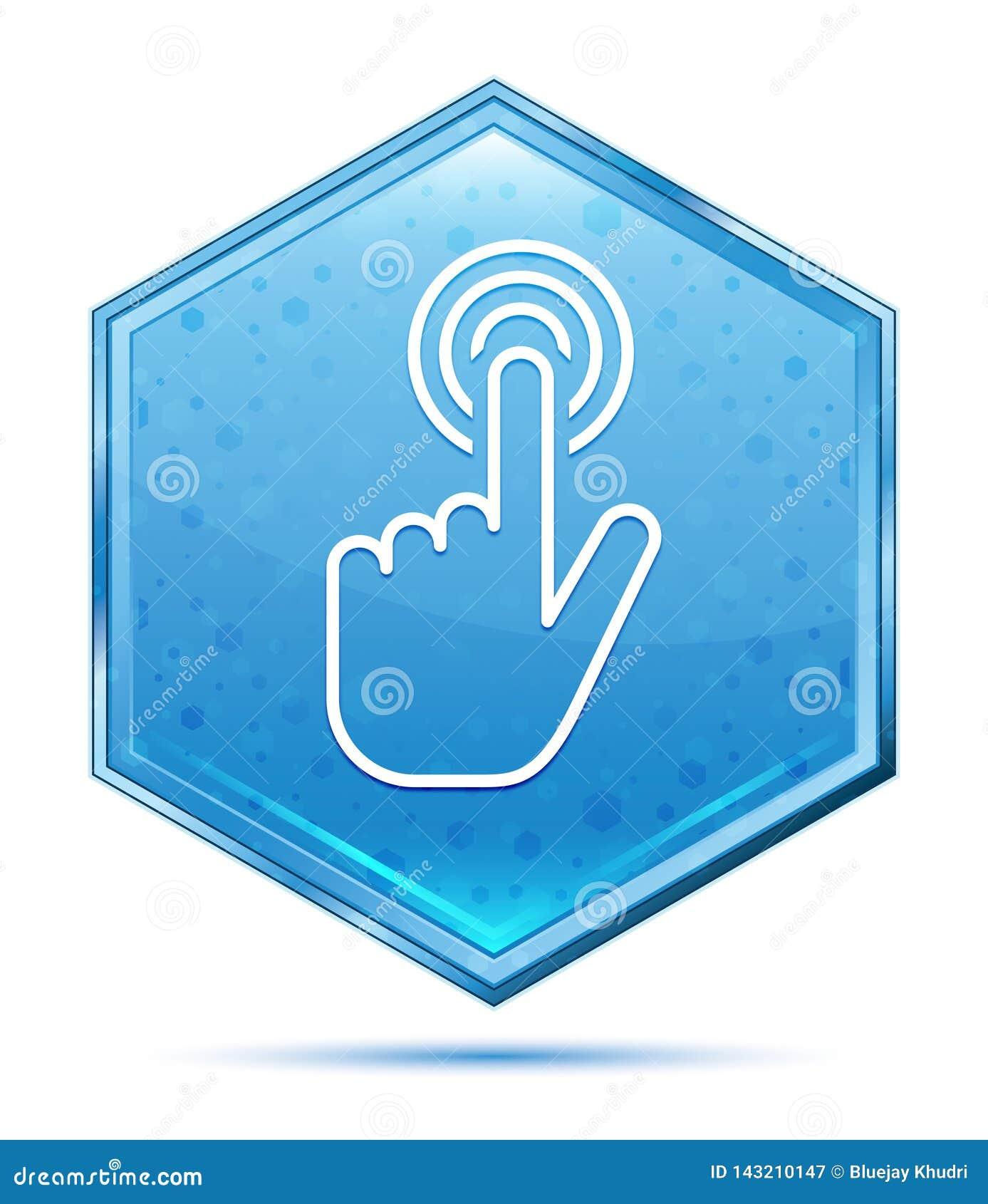 Botão azul de cristal do hexágono do ícone do clique do cursor da mão