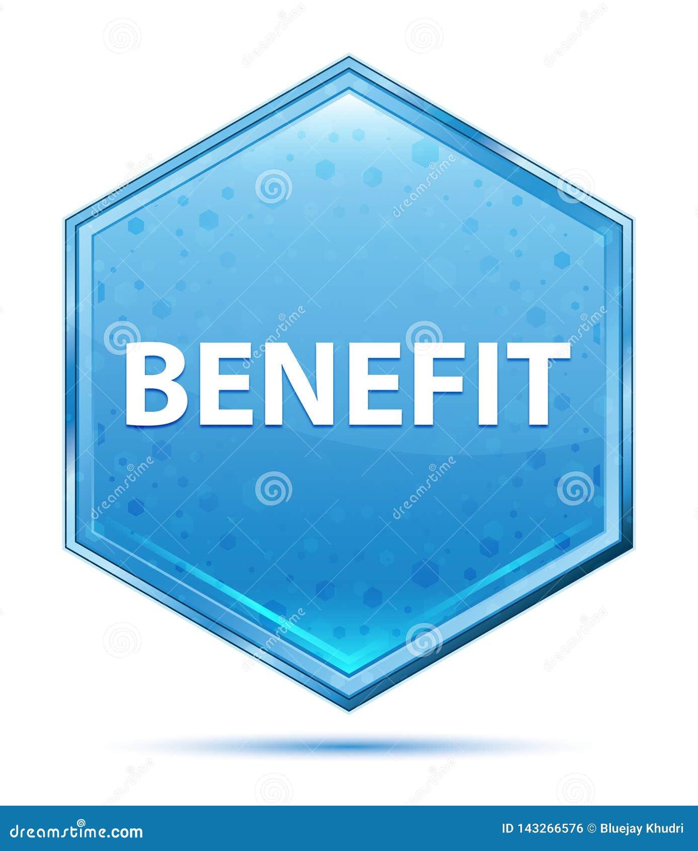 Botão azul de cristal do hexágono do benefício