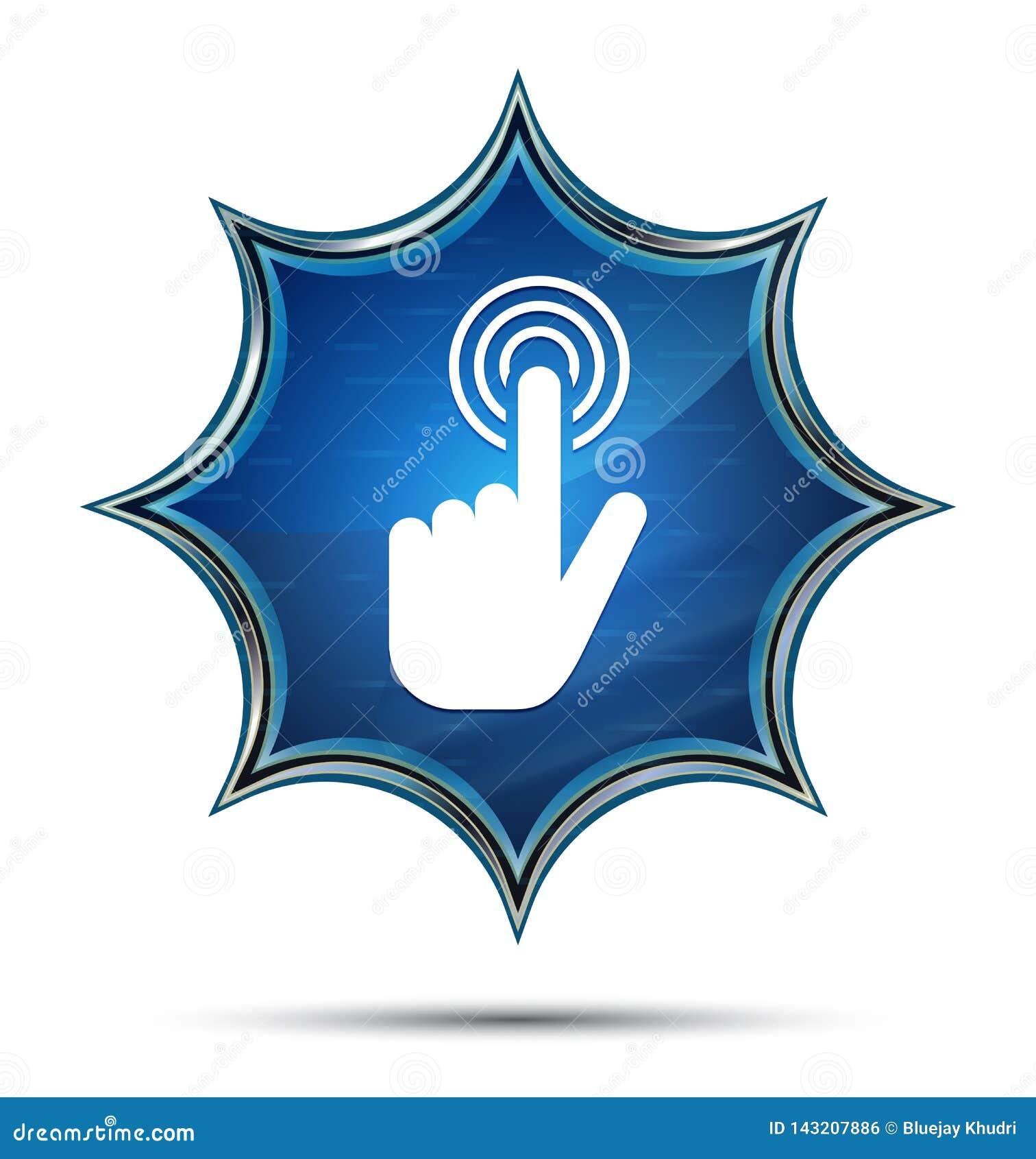 Botão azul sunburst vítreo mágico do ícone do clique do cursor da mão