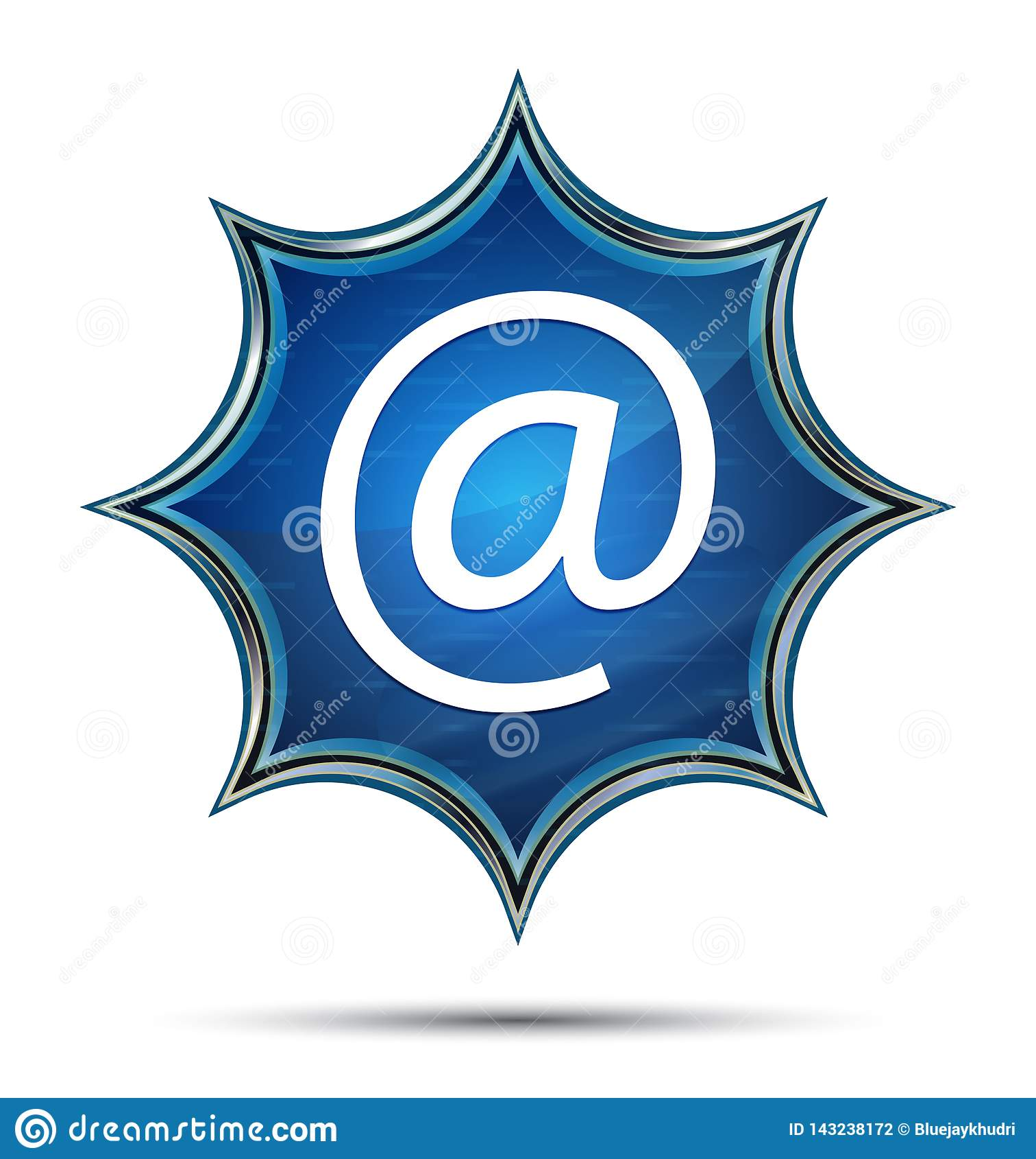 Botão azul sunburst vítreo mágico do ícone do endereço email