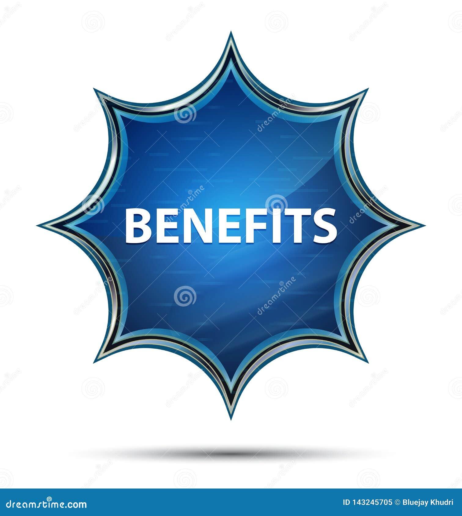 Botão azul sunburst vítreo mágico dos benefícios