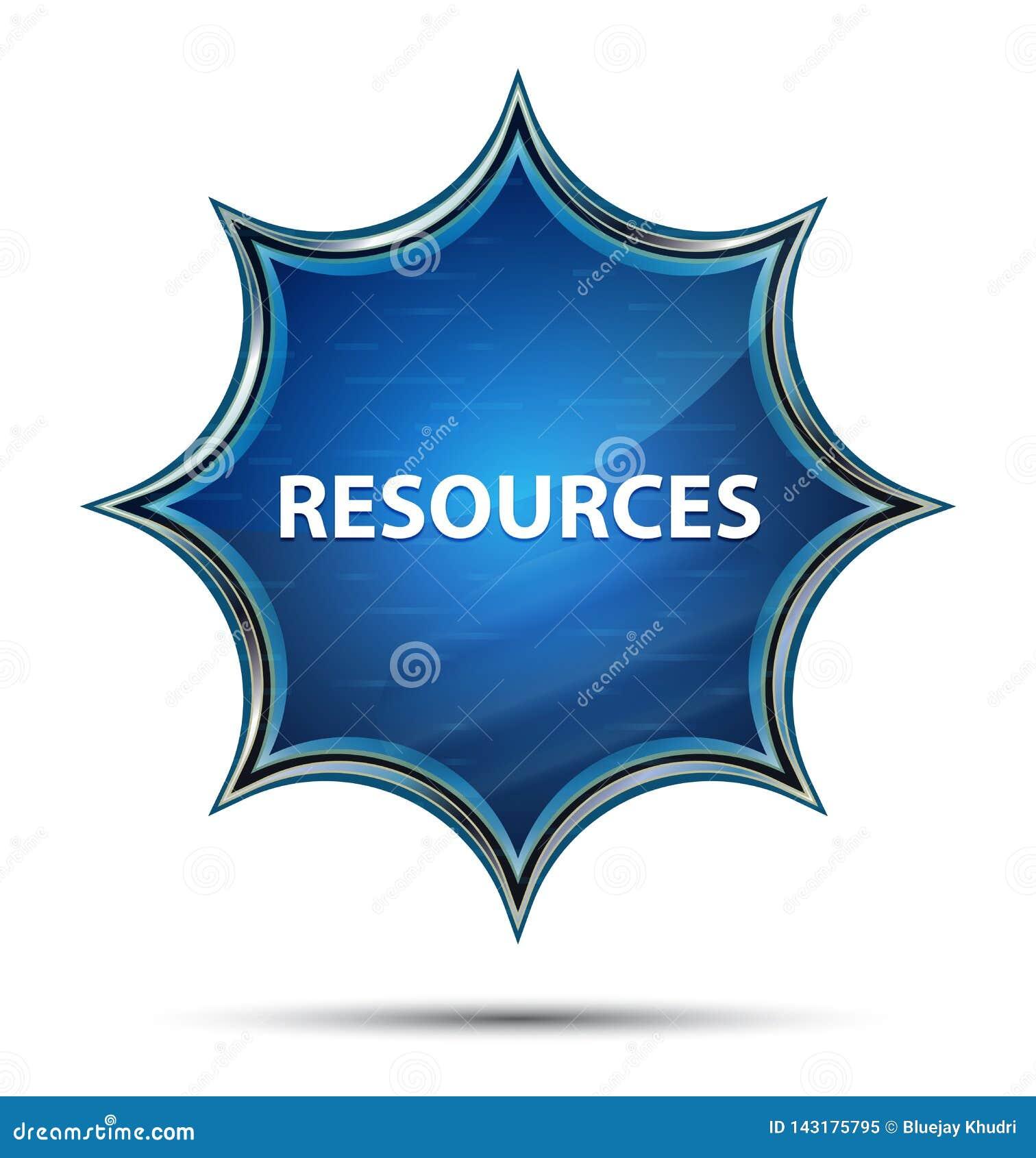 Botão azul sunburst vítreo mágico dos recursos