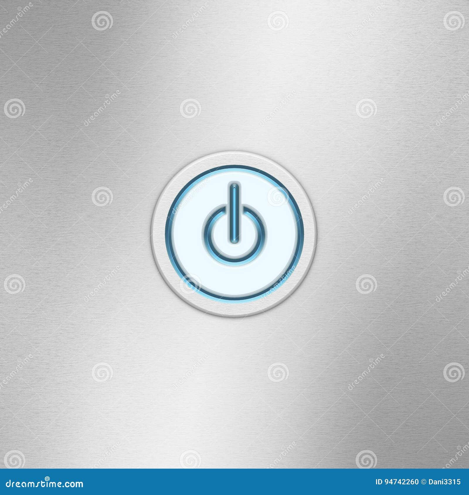 Botão de interruptor da interface de utilizador de ligar/desligar Botão do poder em um painel de alumínio escovado