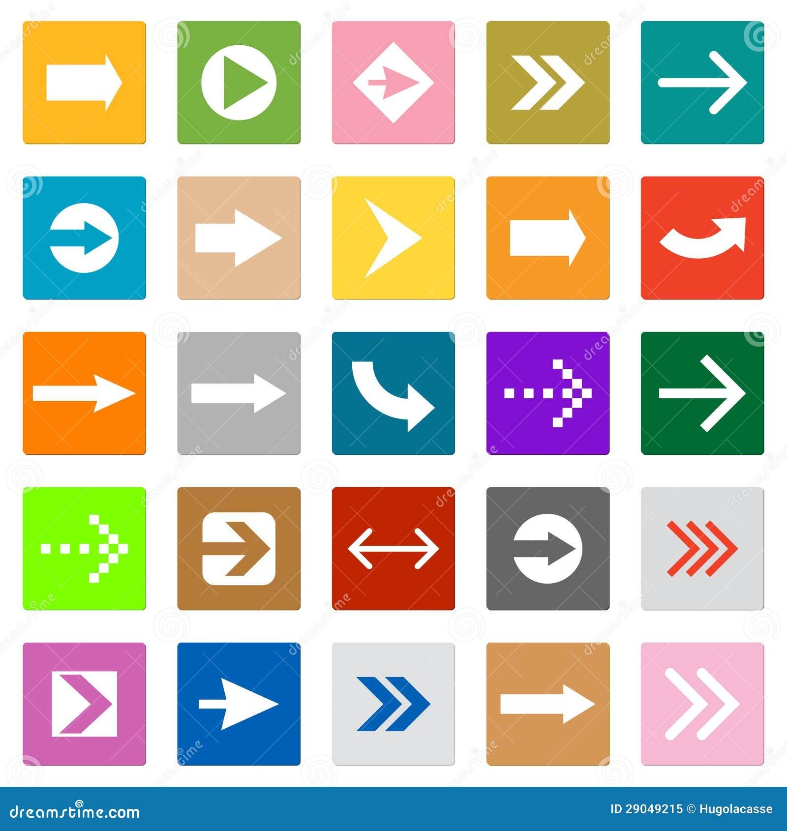 Botão do Internet da forma do quadrado ajustado do ícone do sinal da seta