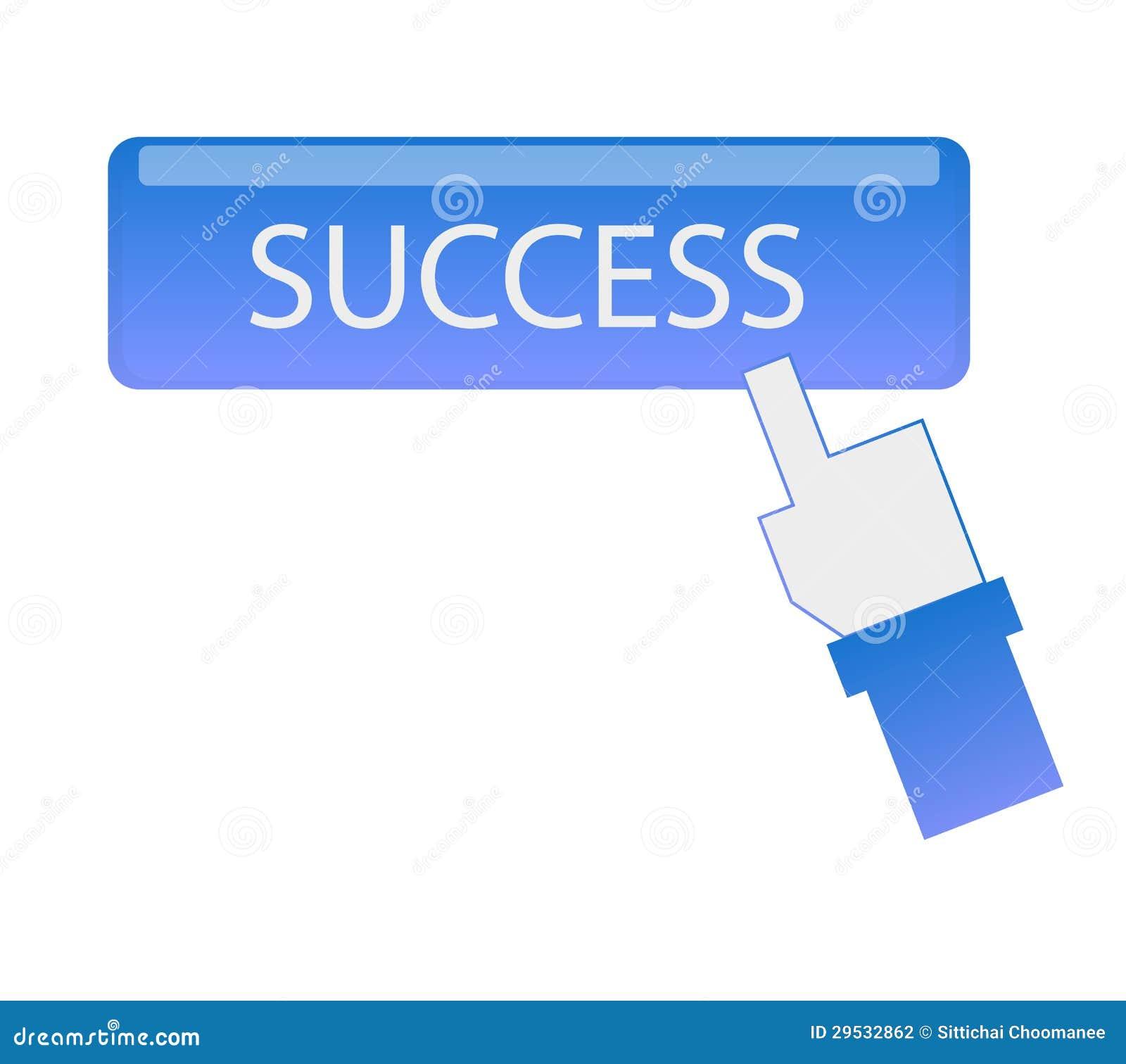 Botão do sucesso do clique do cursor da mão
