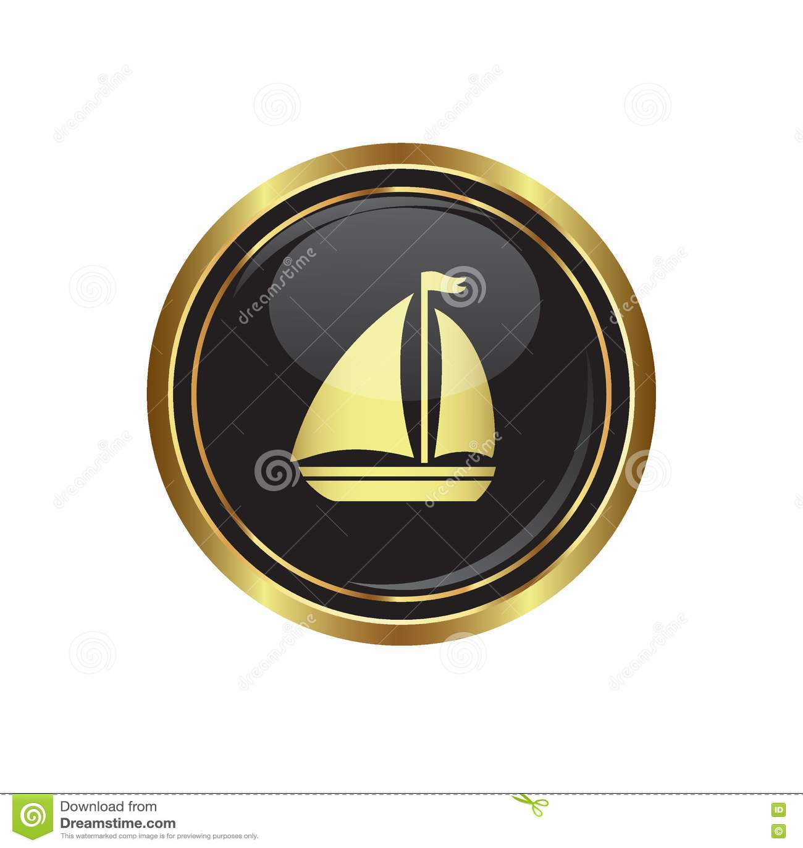Botão dourado redondo com ícone do veleiro