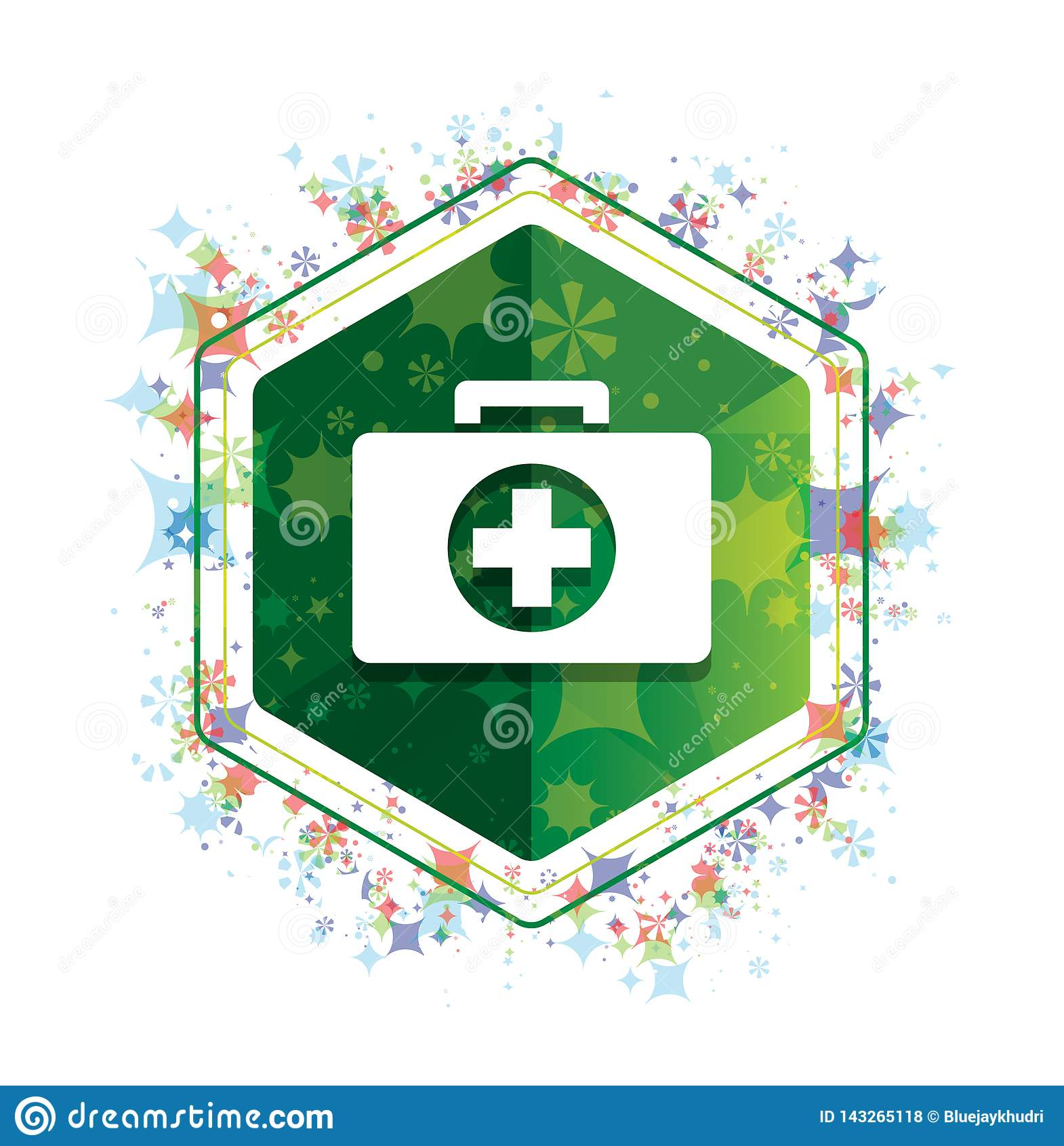 Botão floral do hexágono do verde do teste padrão das plantas do ícone do kit de primeiros socorros