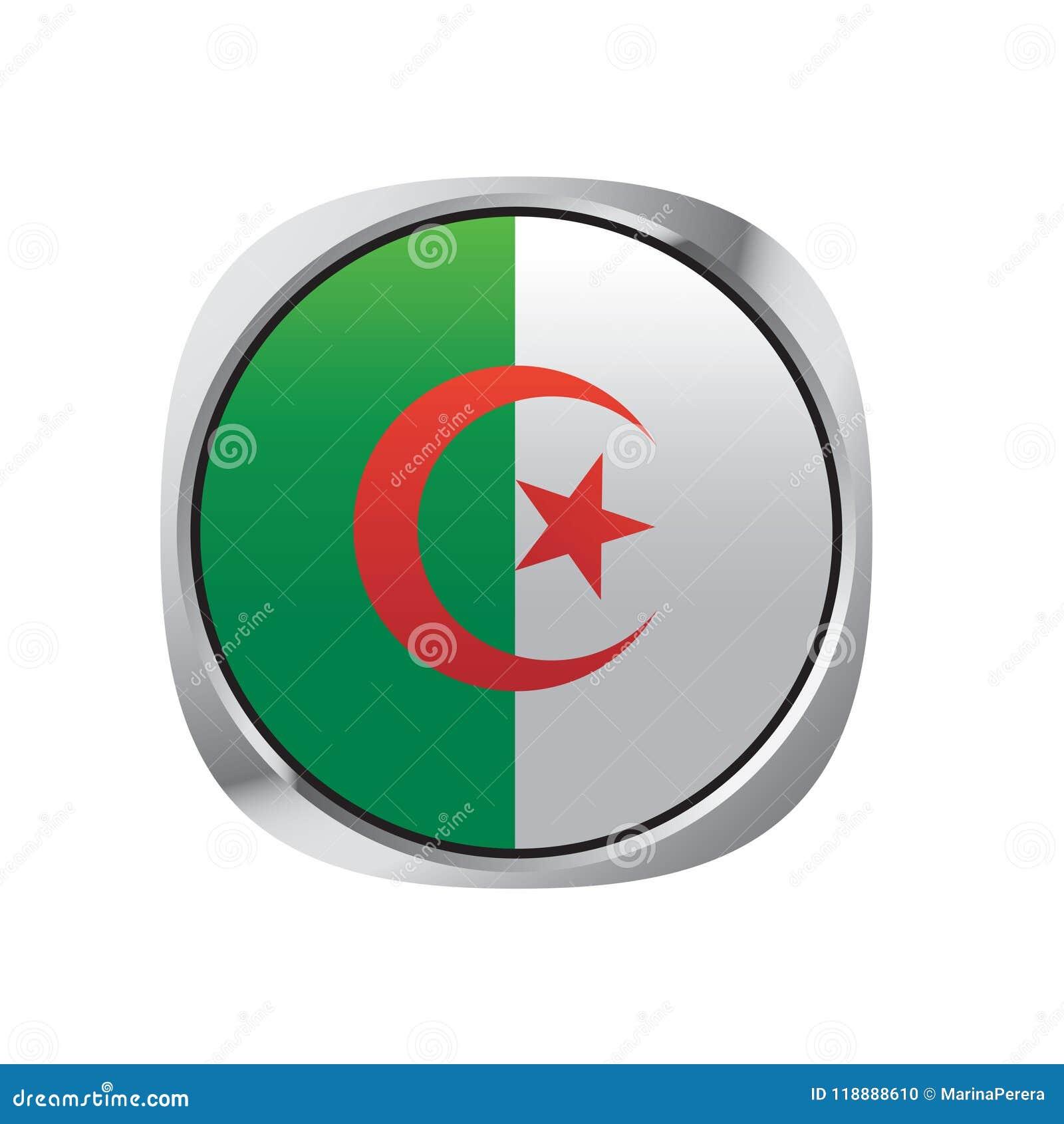 Botão isolado do vetor da bandeira de Argélia