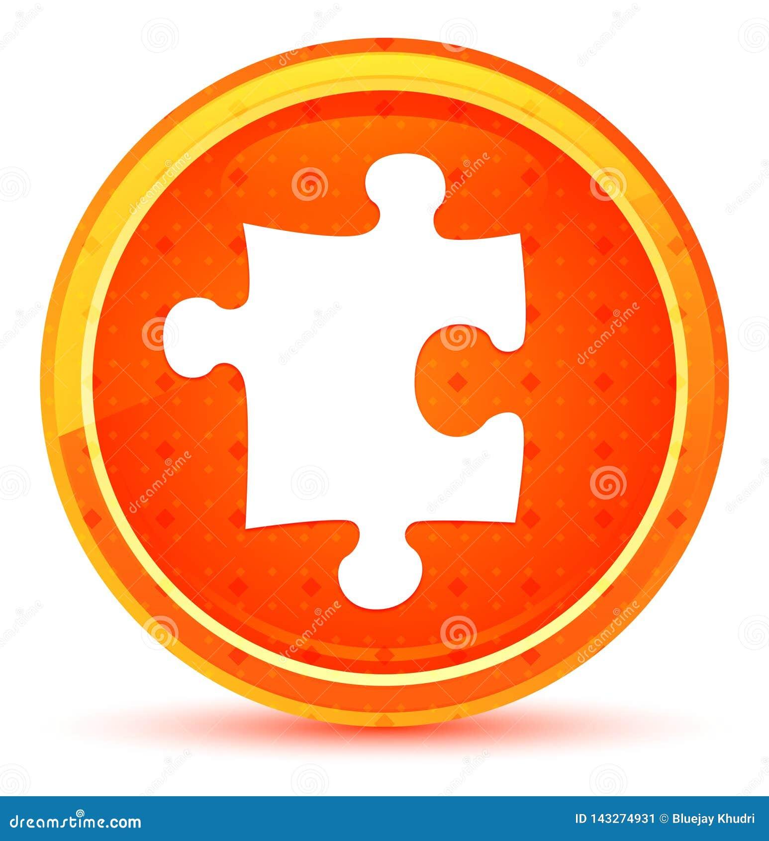 Botão redondo alaranjado natural do ícone do enigma