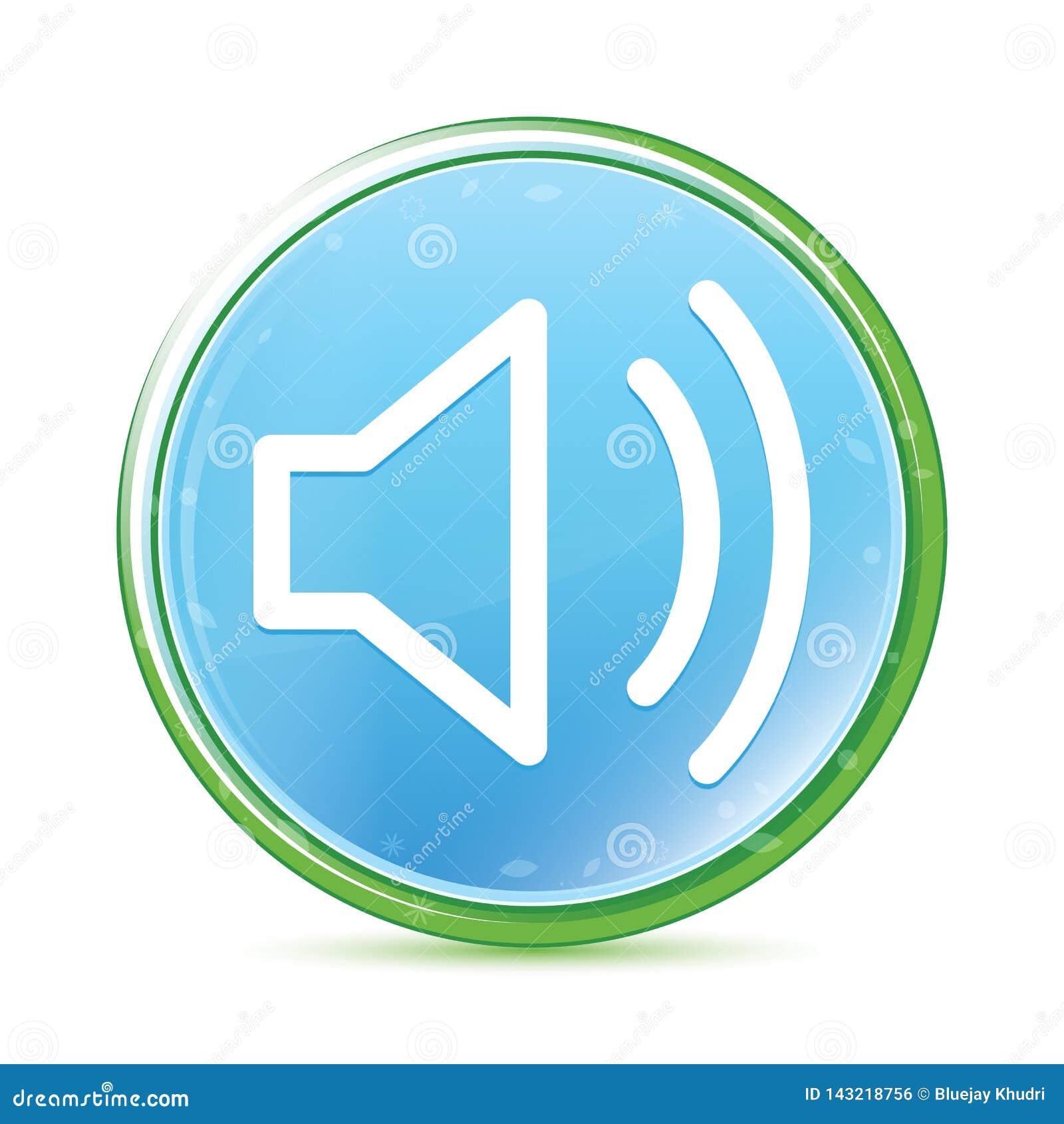 Botão redondo azul ciano do aqua natural do ícone do orador do volume