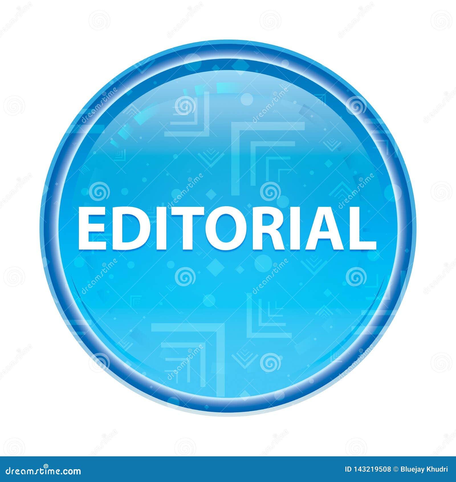 Botão redondo azul floral editorial