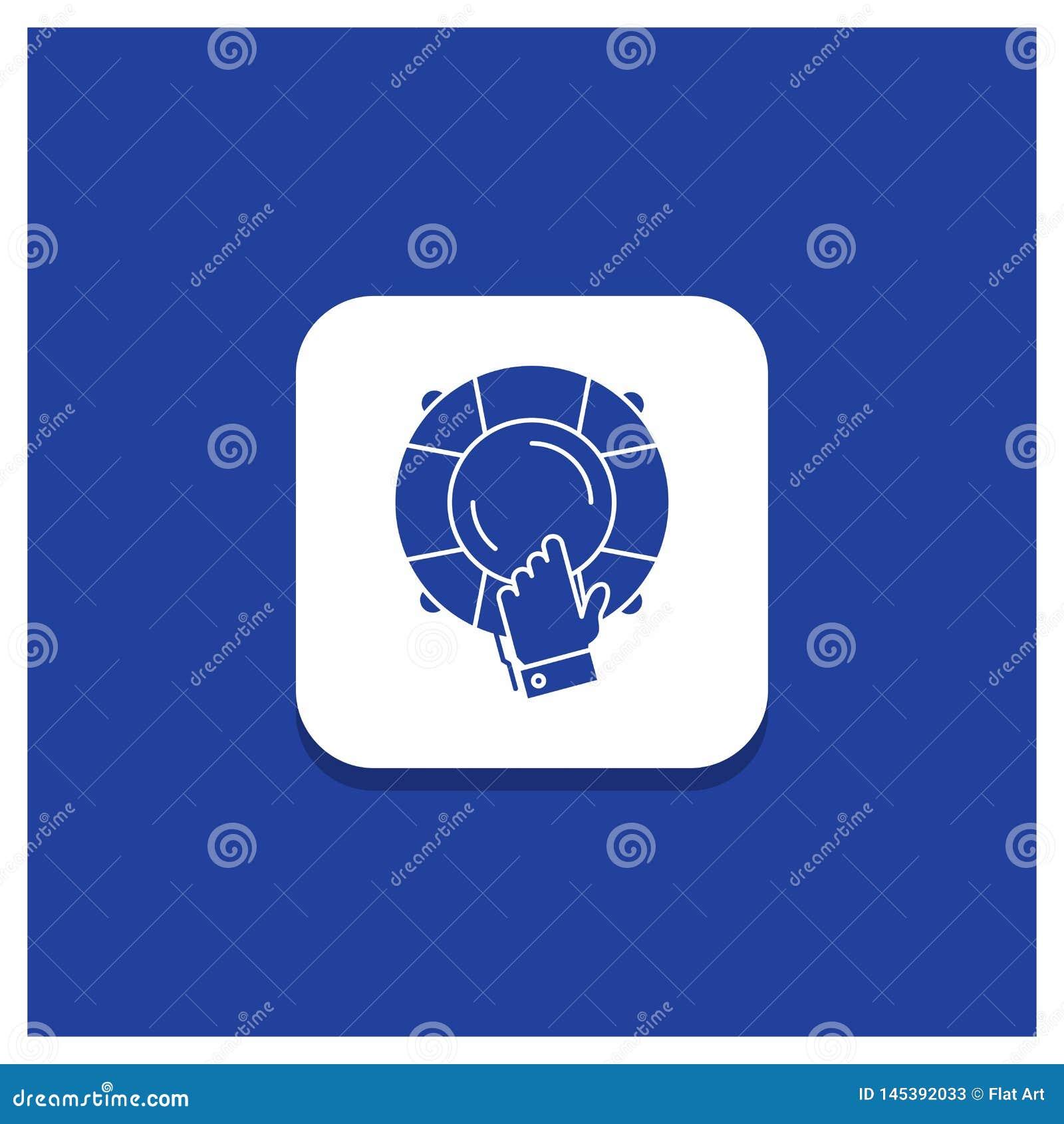 Botão redondo azul para a emergência, protetor, ajuda, seguro, ícone do Glyph do boia salva-vidas
