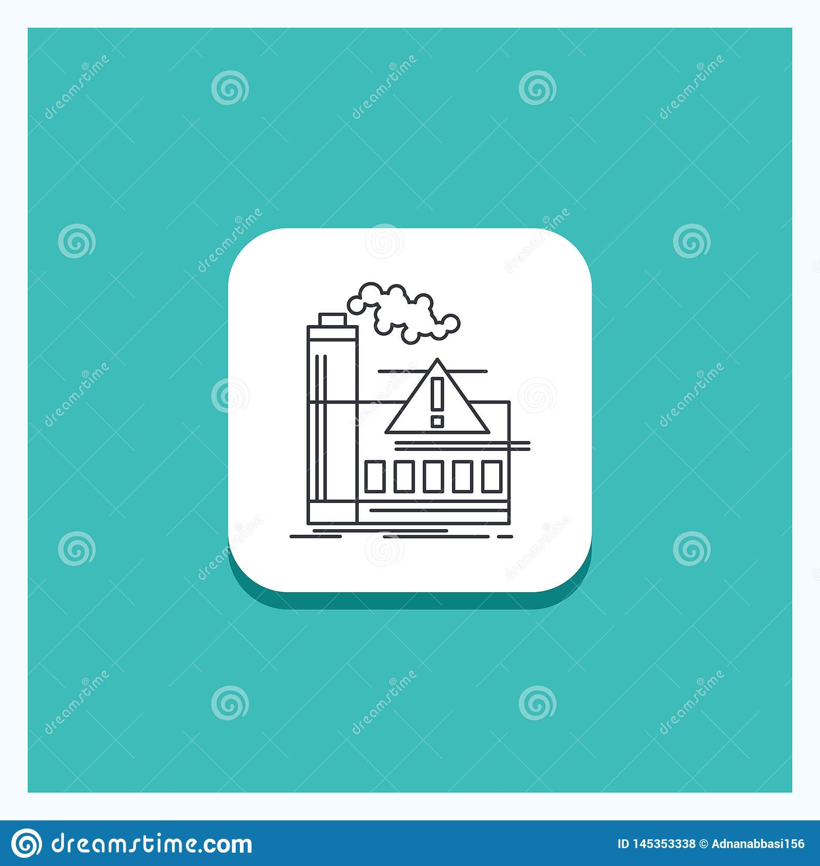 Botão redondo para a poluição, fábrica, ar, alerta, linha fundo da indústria de turquesa do ícone