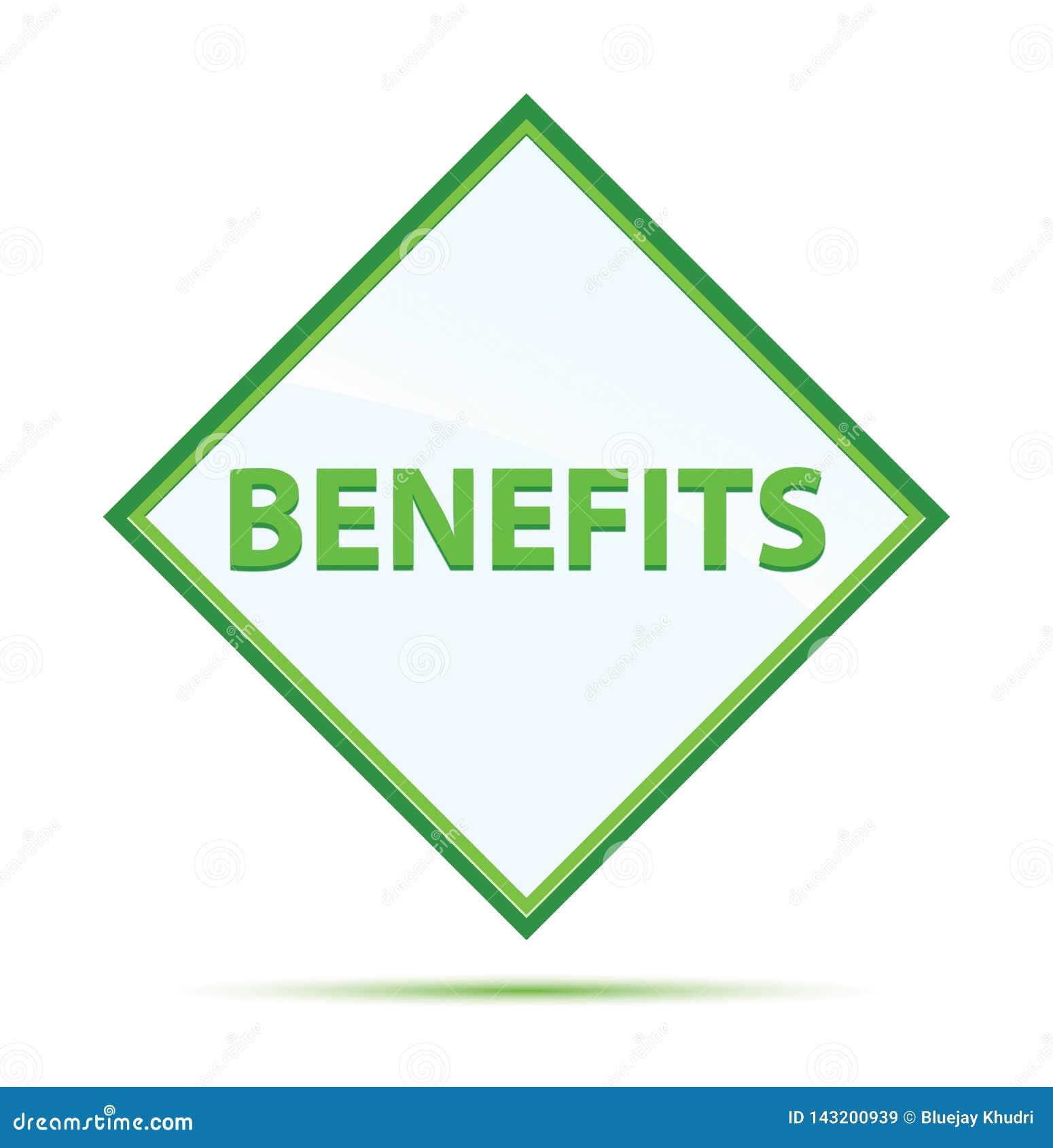 Botão verde abstrato moderno do diamante dos benefícios