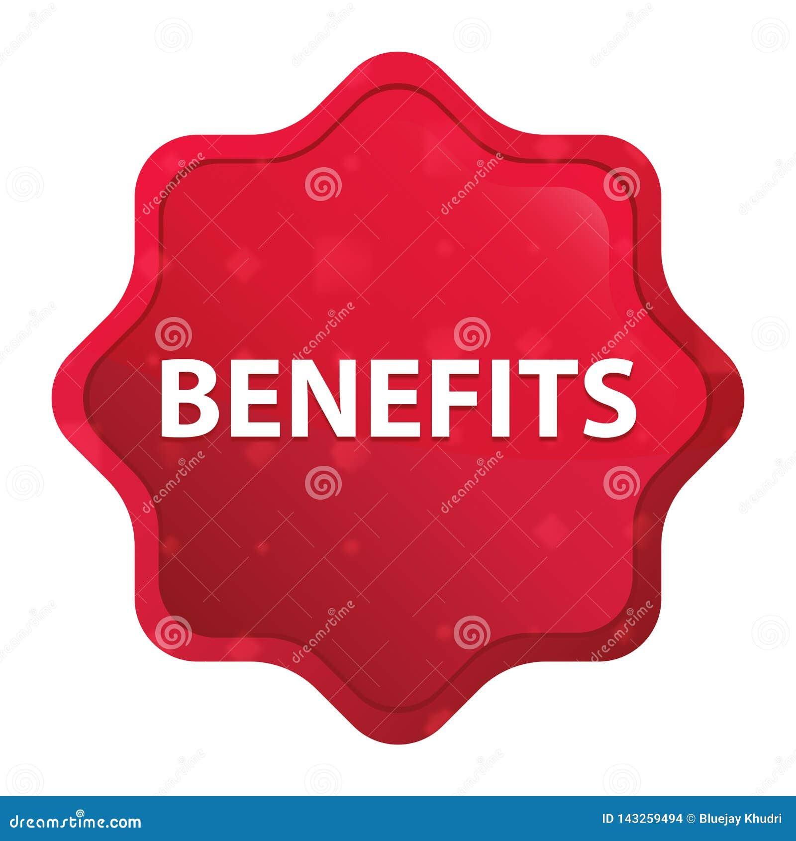 Botão vermelho cor-de-rosa enevoado da etiqueta do starburst dos benefícios