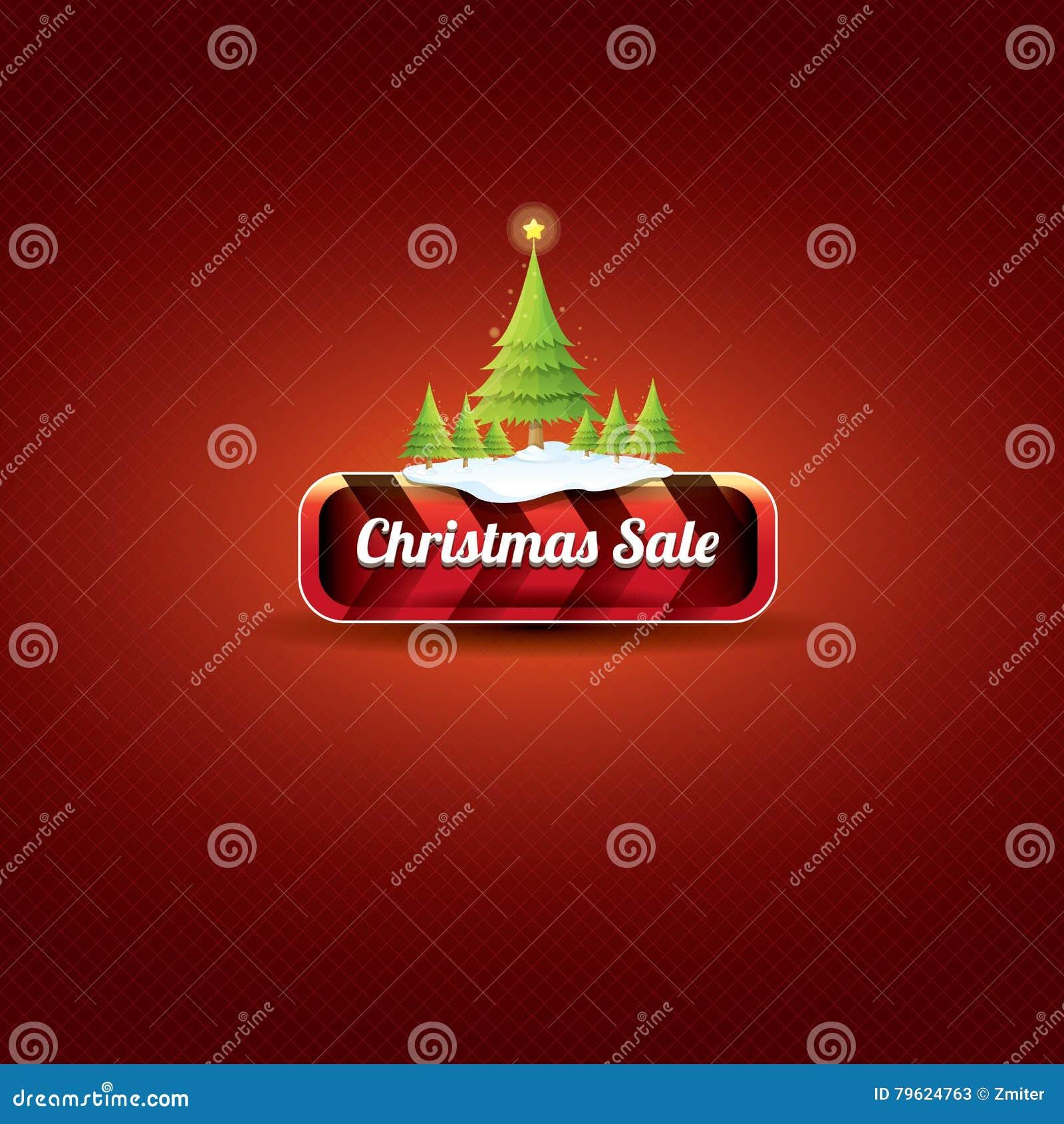 Botão vermelho do vetor do Natal com árvore de Natal