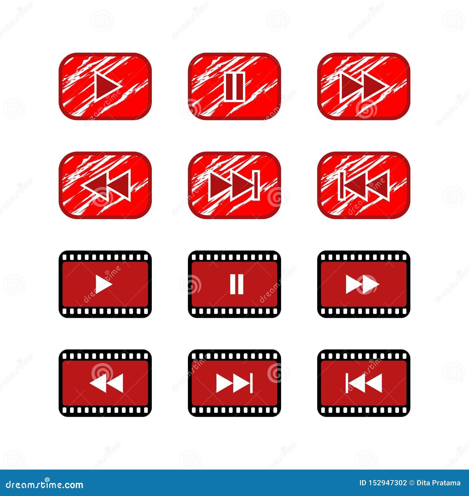 Botão video do ícone do Web site do botão do jogo de Ruster