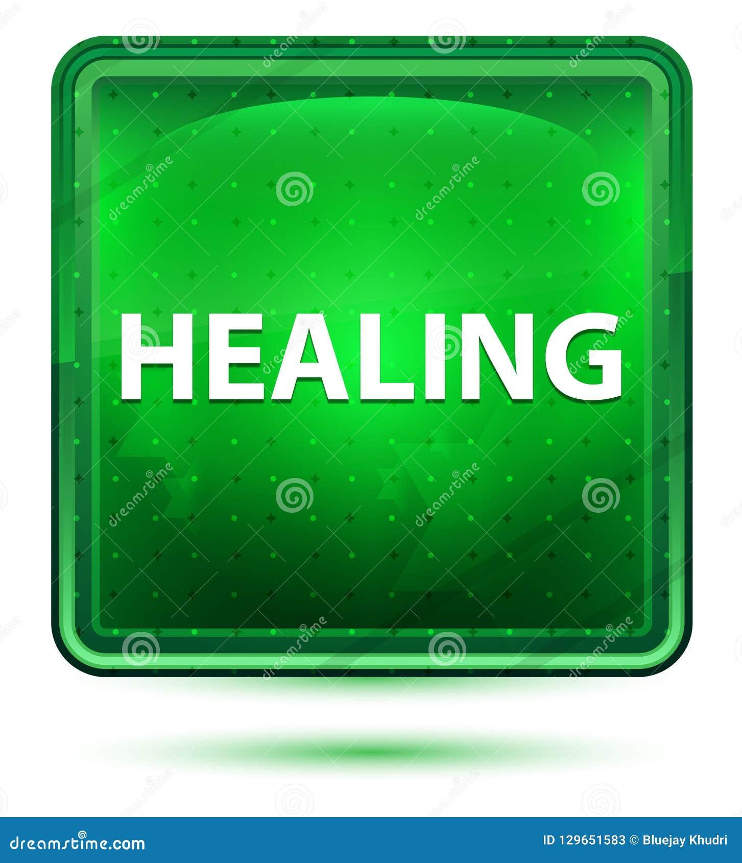 Botón cuadrado verde claro de neón de la cura