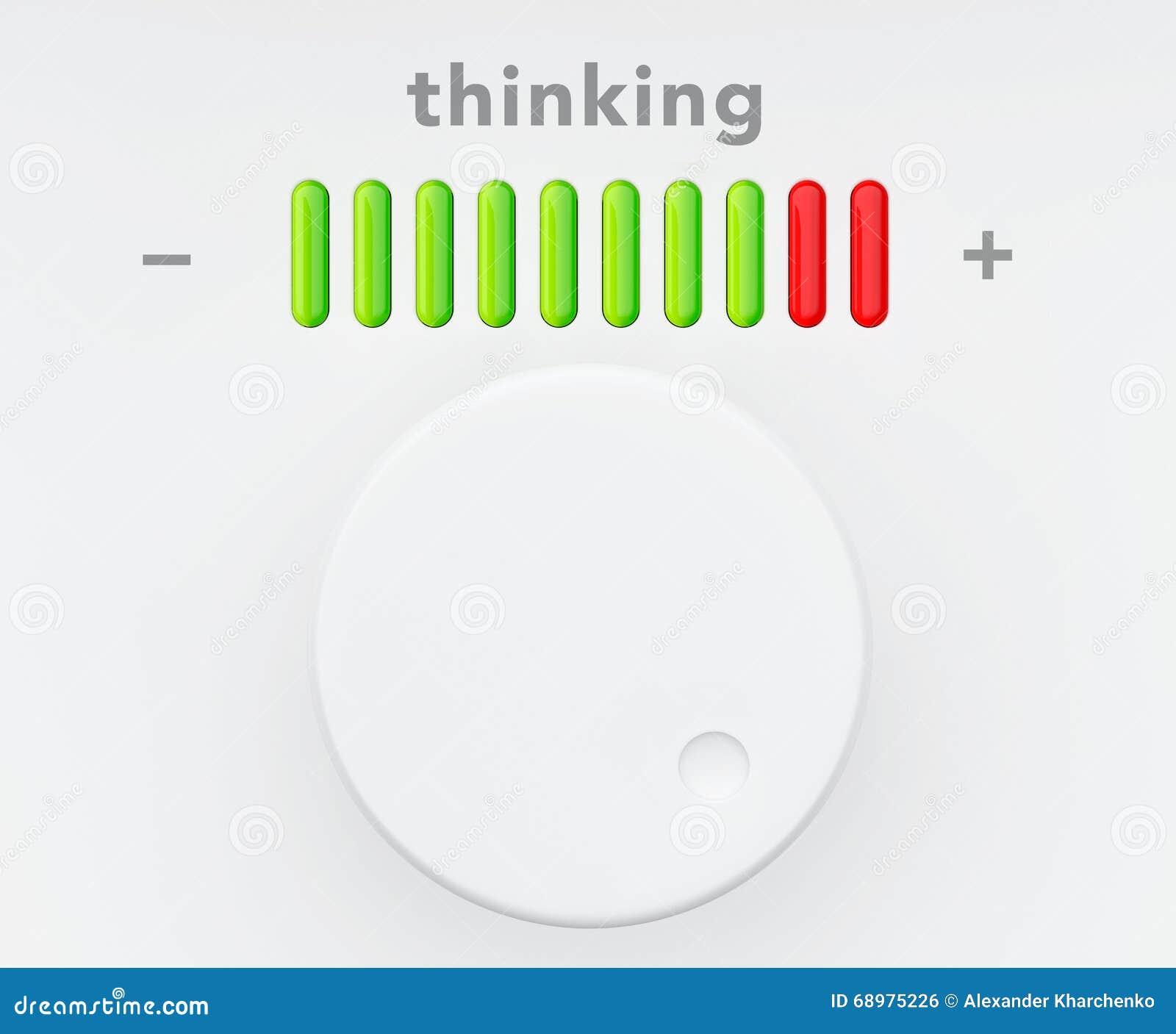 Botón de control con la escala de pensamiento del progreso