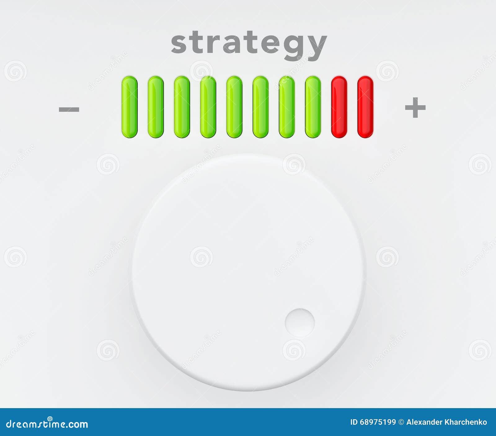 Botón de control con la escala del progreso de la estrategia