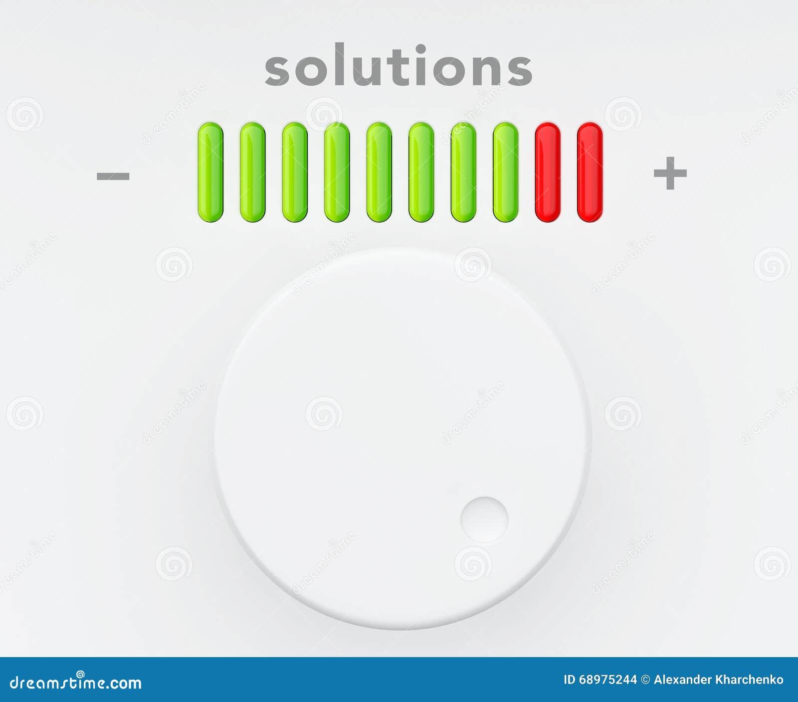 Botón de control con la escala del progreso de las soluciones