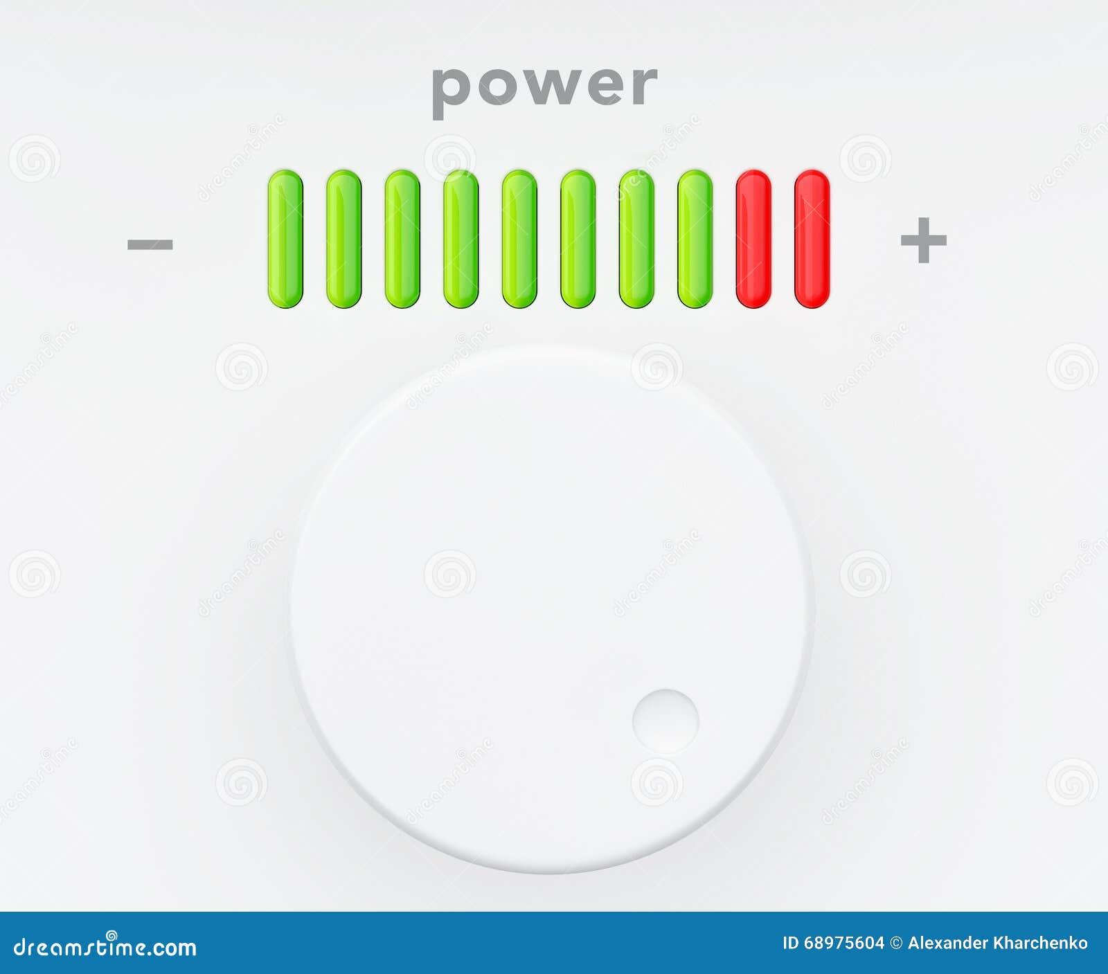 Botón de control con la escala del progreso del poder