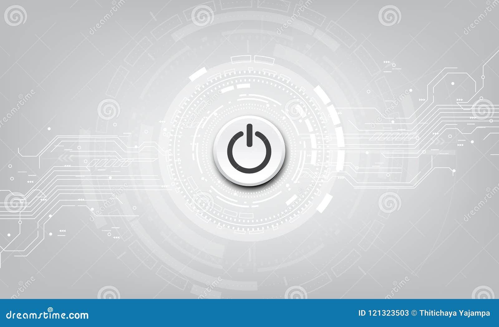 Botón de encendido del vector en fondo de la tecnología