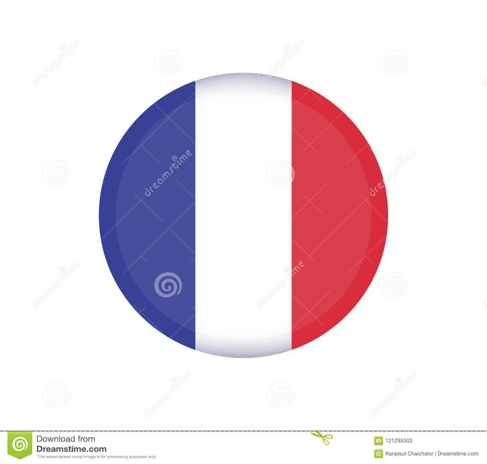 Botón de la bandera de FRANCIA Icono redondo del vector de la bandera de Francia - ejemplo